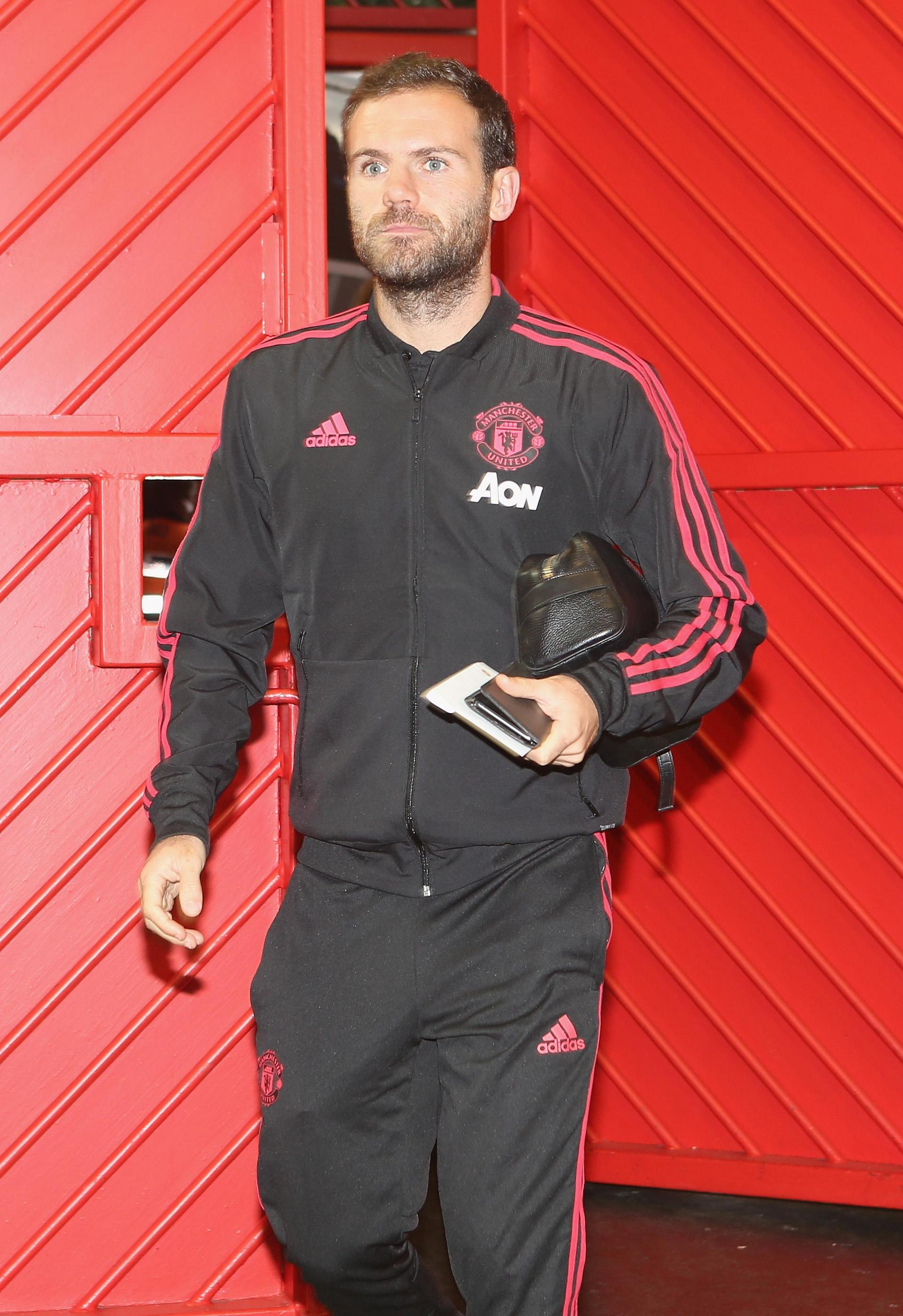 Juan Mata arriving at Old Trafford.