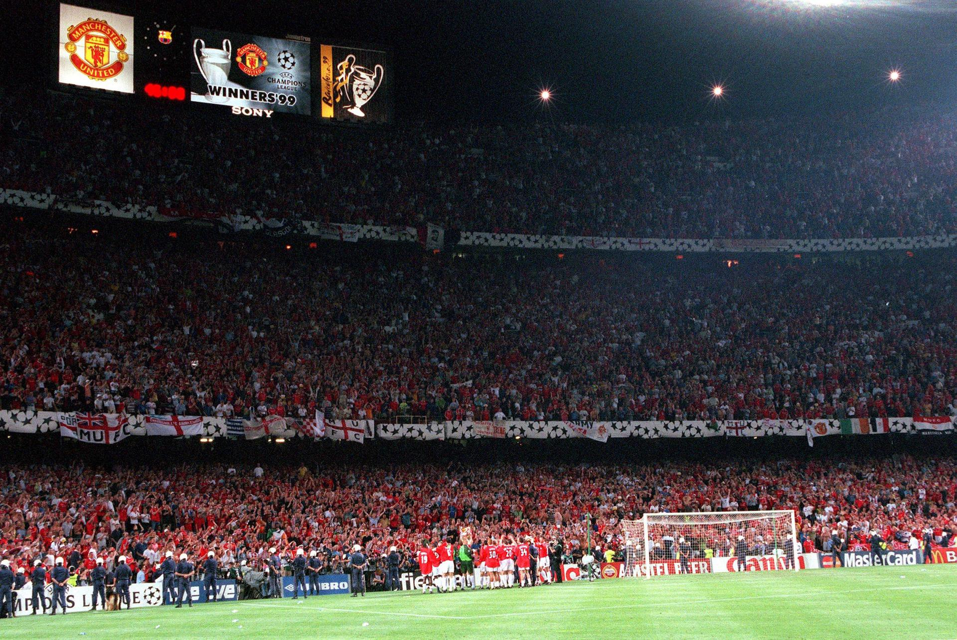 United fans at the Nou Camp on 26 May 1999.