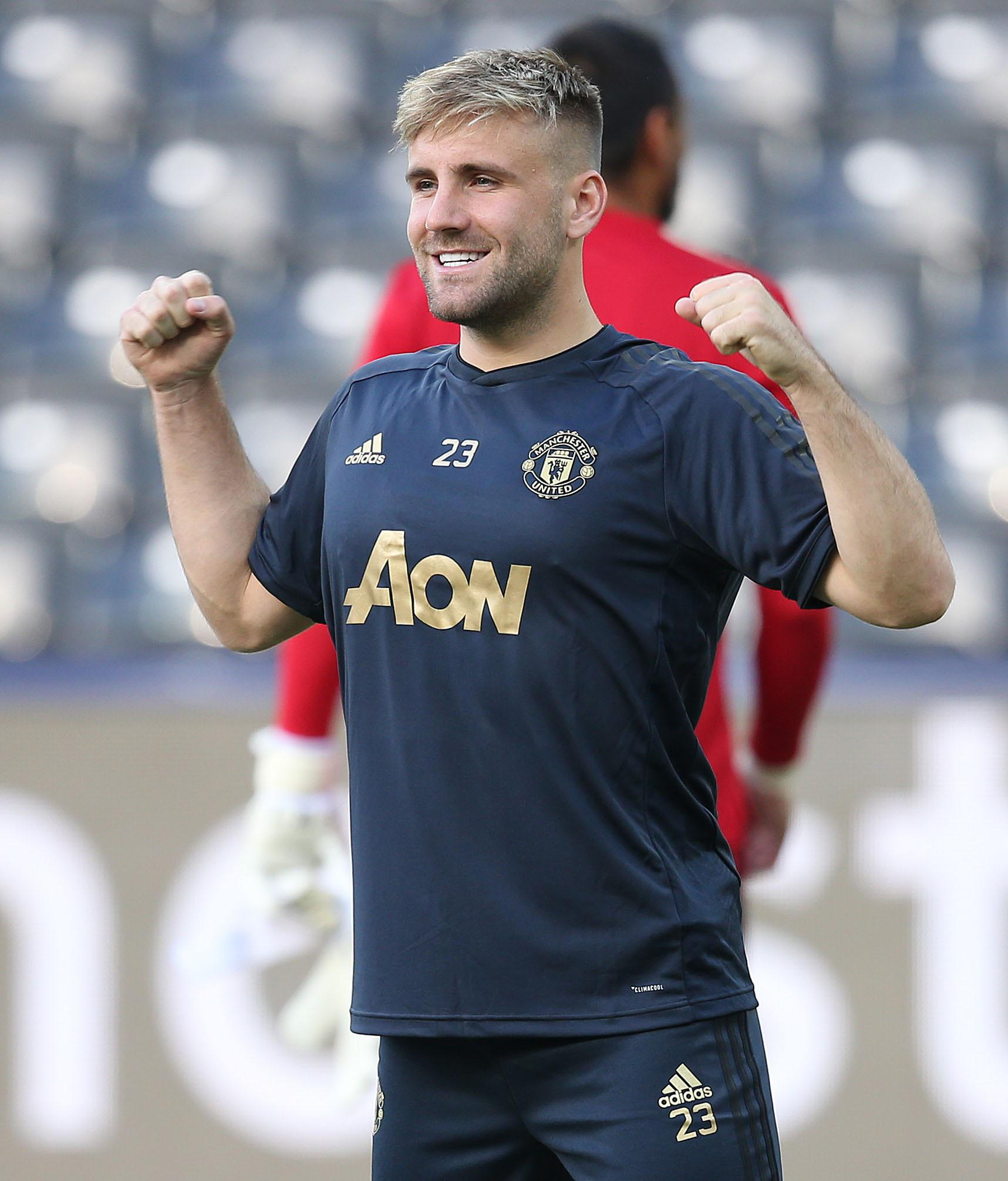 Luke Shaw takes part in a training session before United's Champions League game against Young Boys in Switzerland
