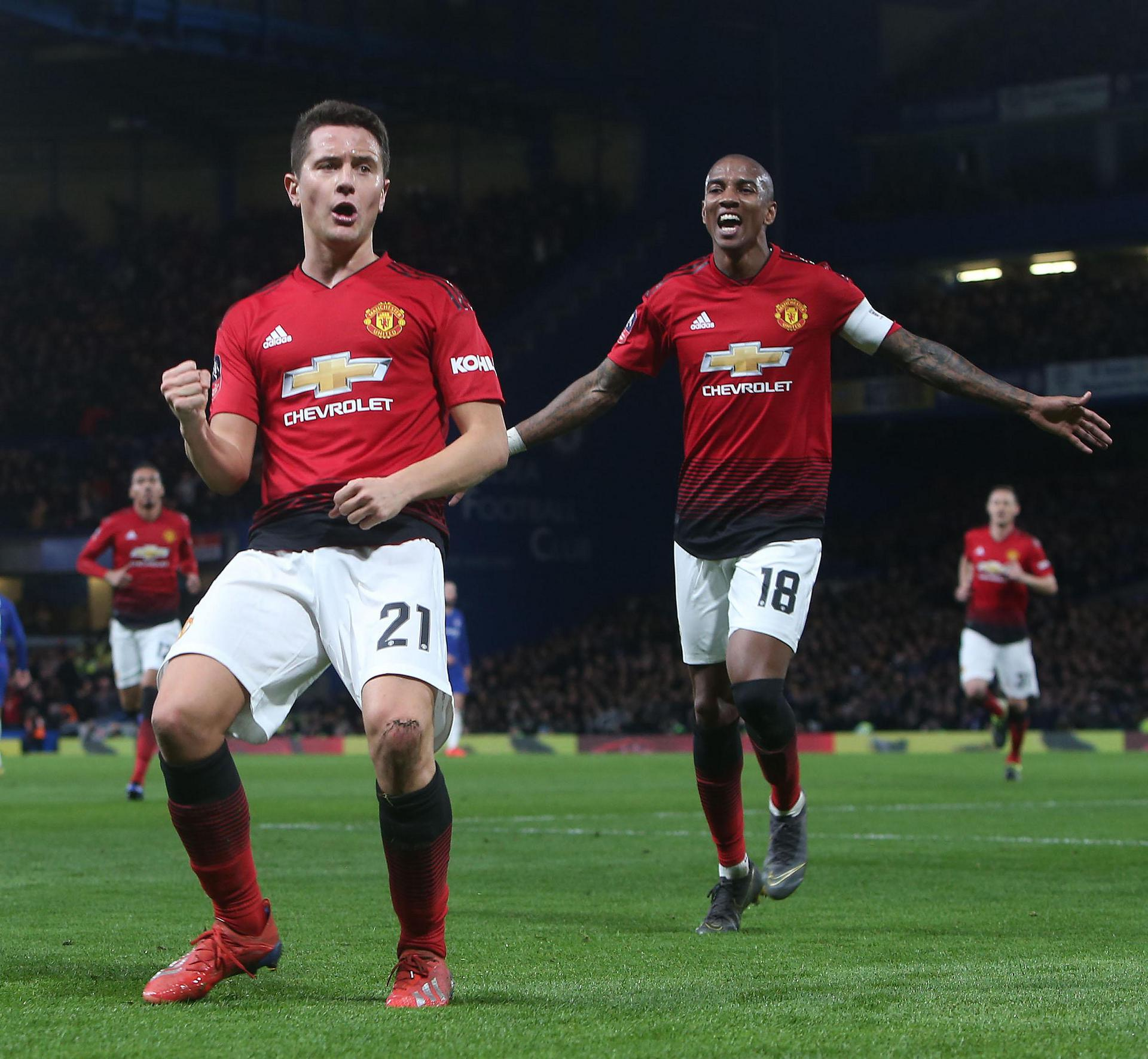 Ander Herrera celebrates one of his goals for United