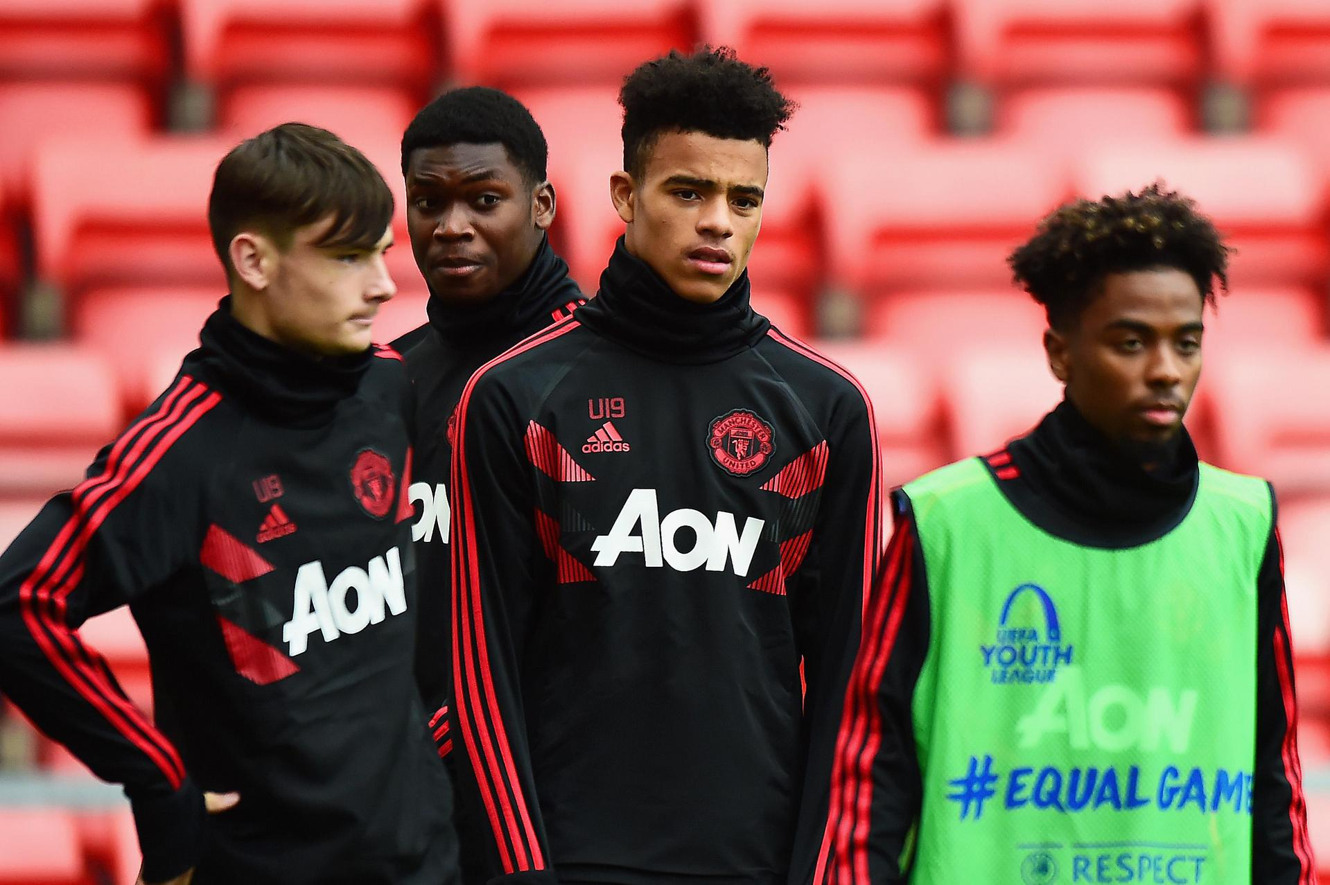 United youngsters before a UEFA Youth League game.