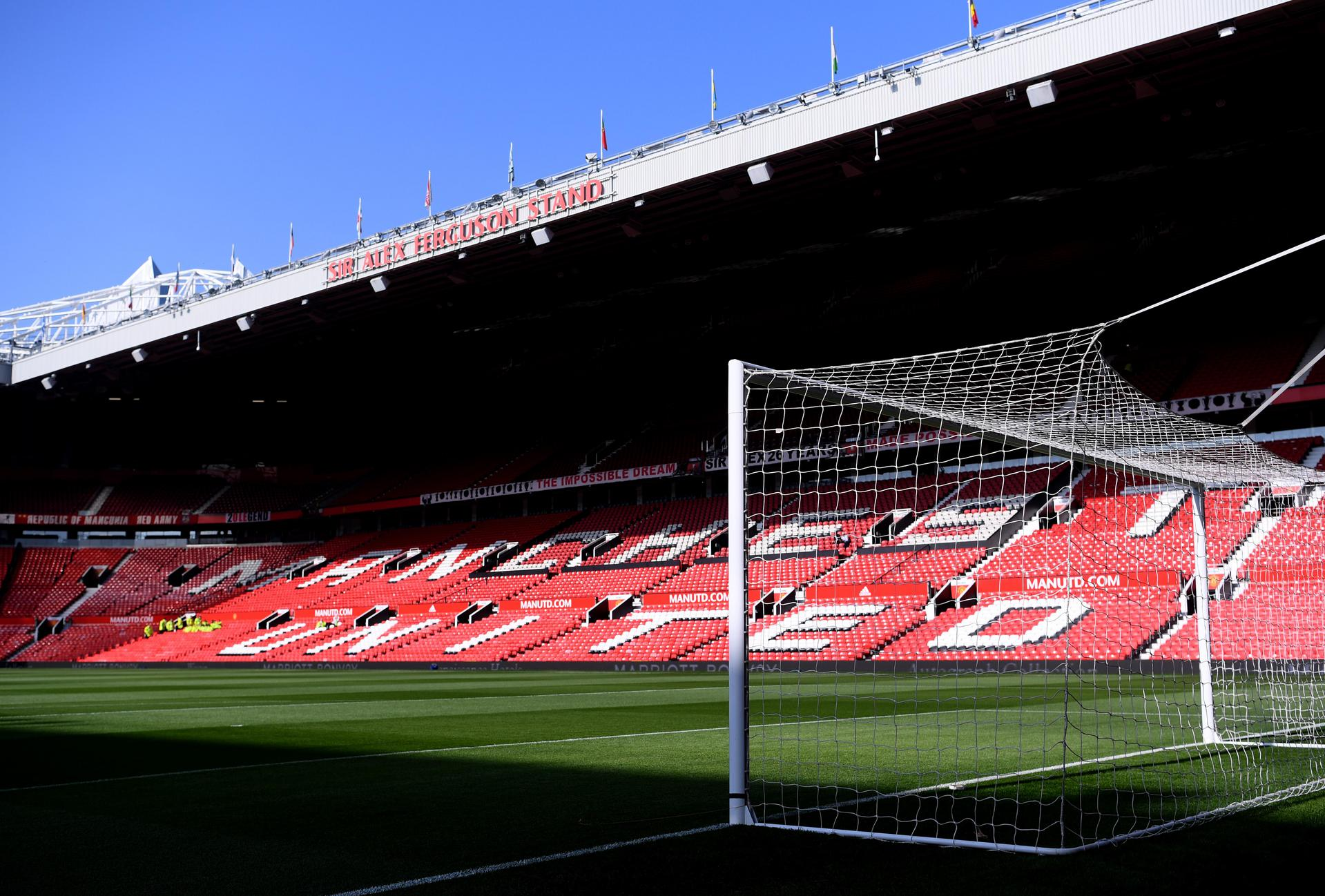 A view of one net and Sir Alex Ferguson Stand at Old Trafford