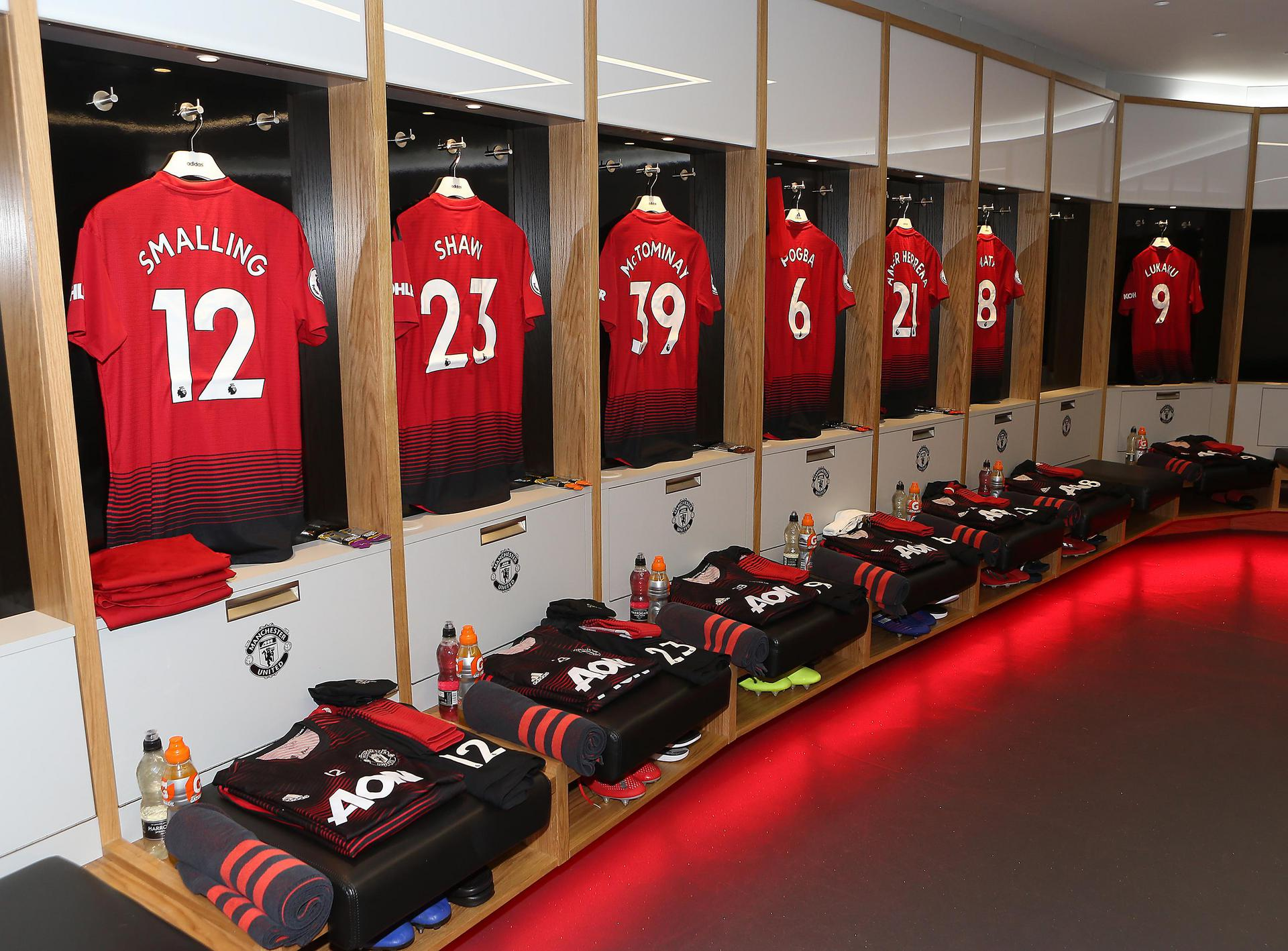Manchester United shirts in the dressing room