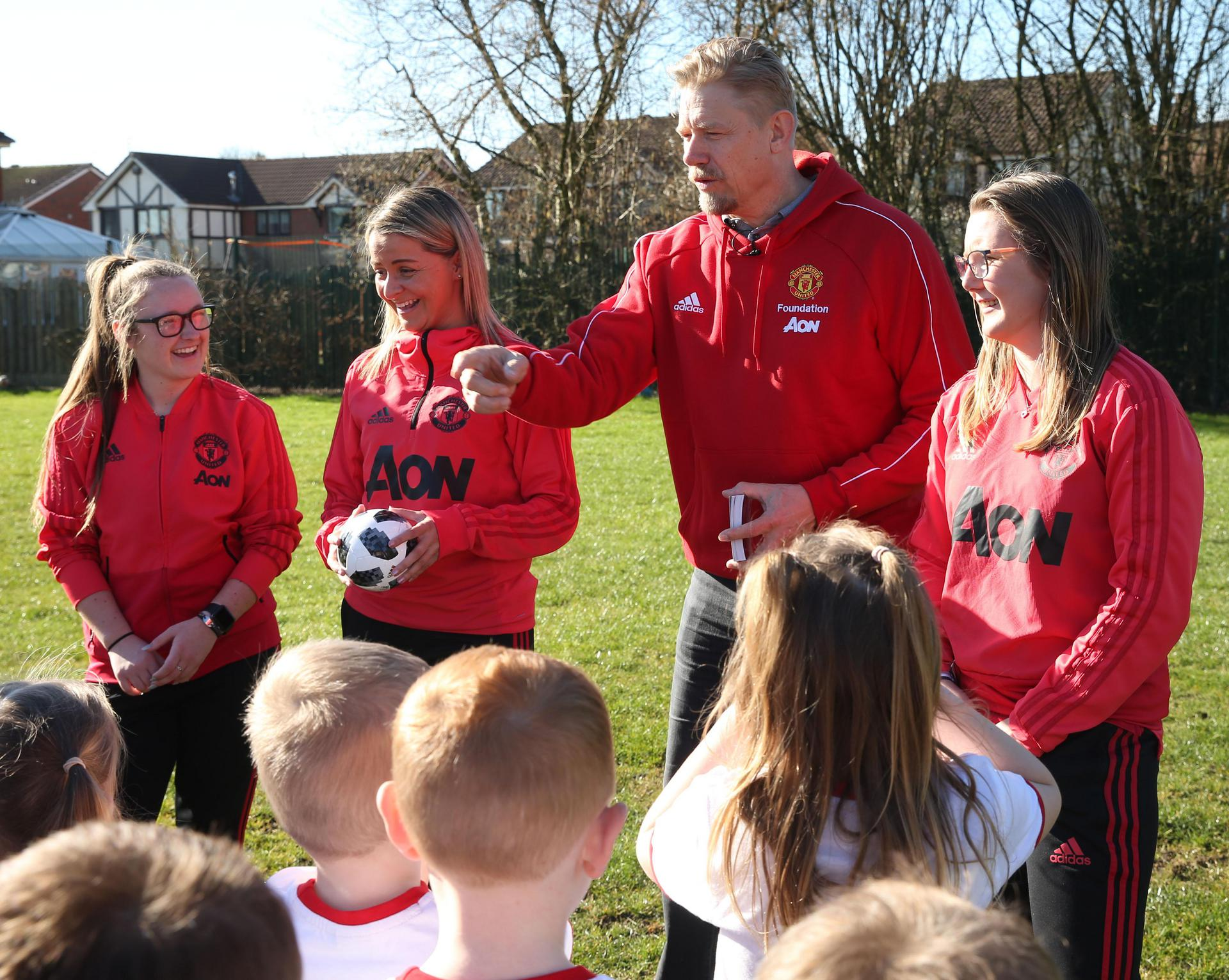 Peter Schmeichel with the Manchester United Foundation.