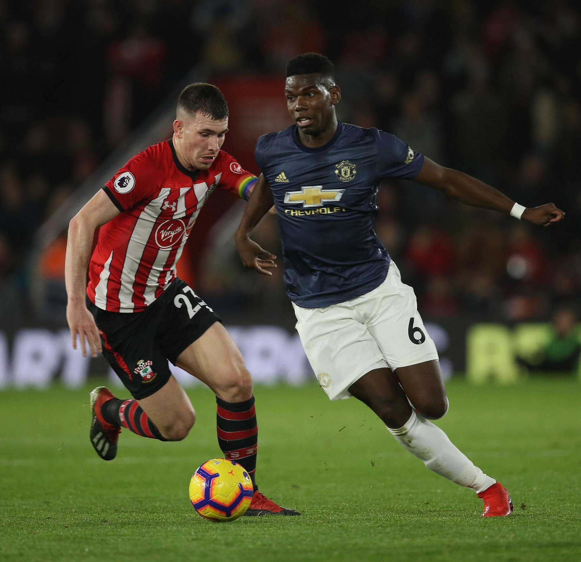 Paul Pogba on the ball against Southampton at St Mary's in the Premier League on 1 December 2019.