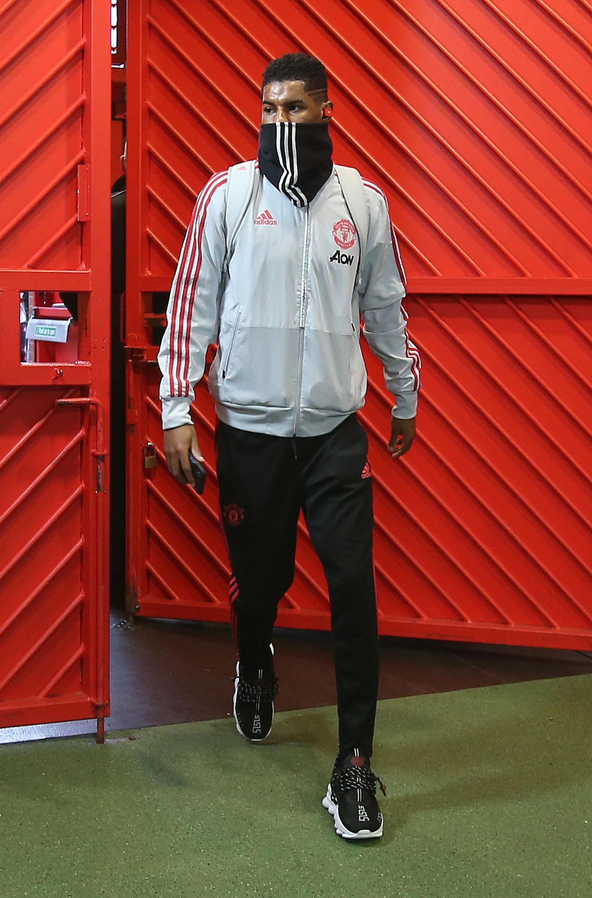 Marcus Rashford arrives for the match against Southampton