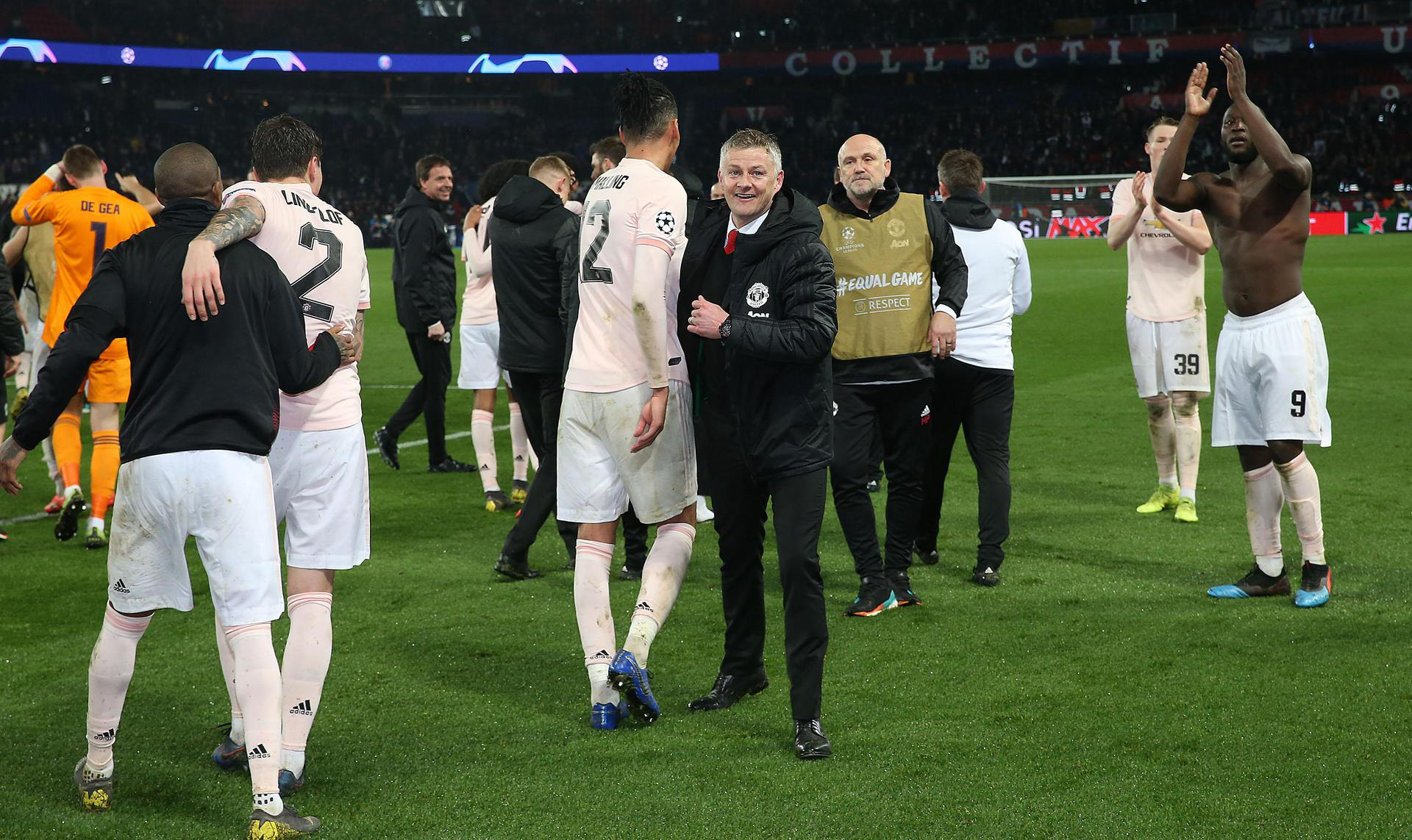 Ole Gunnar Solskjaer on the pitch after the game.