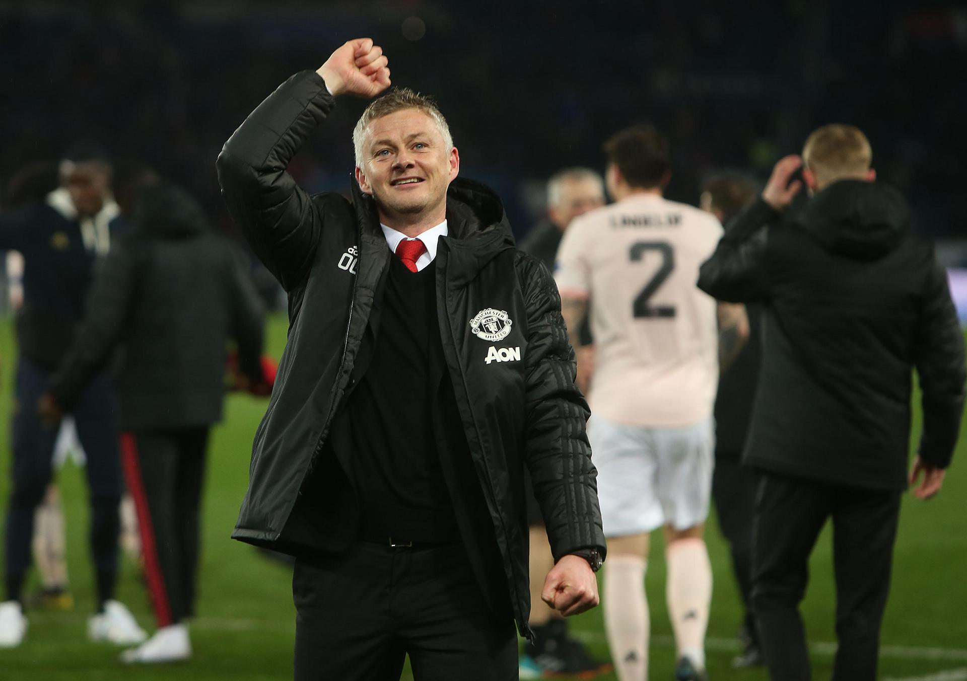 Ole Gunnar Solskjaer celebrates in Paris.
