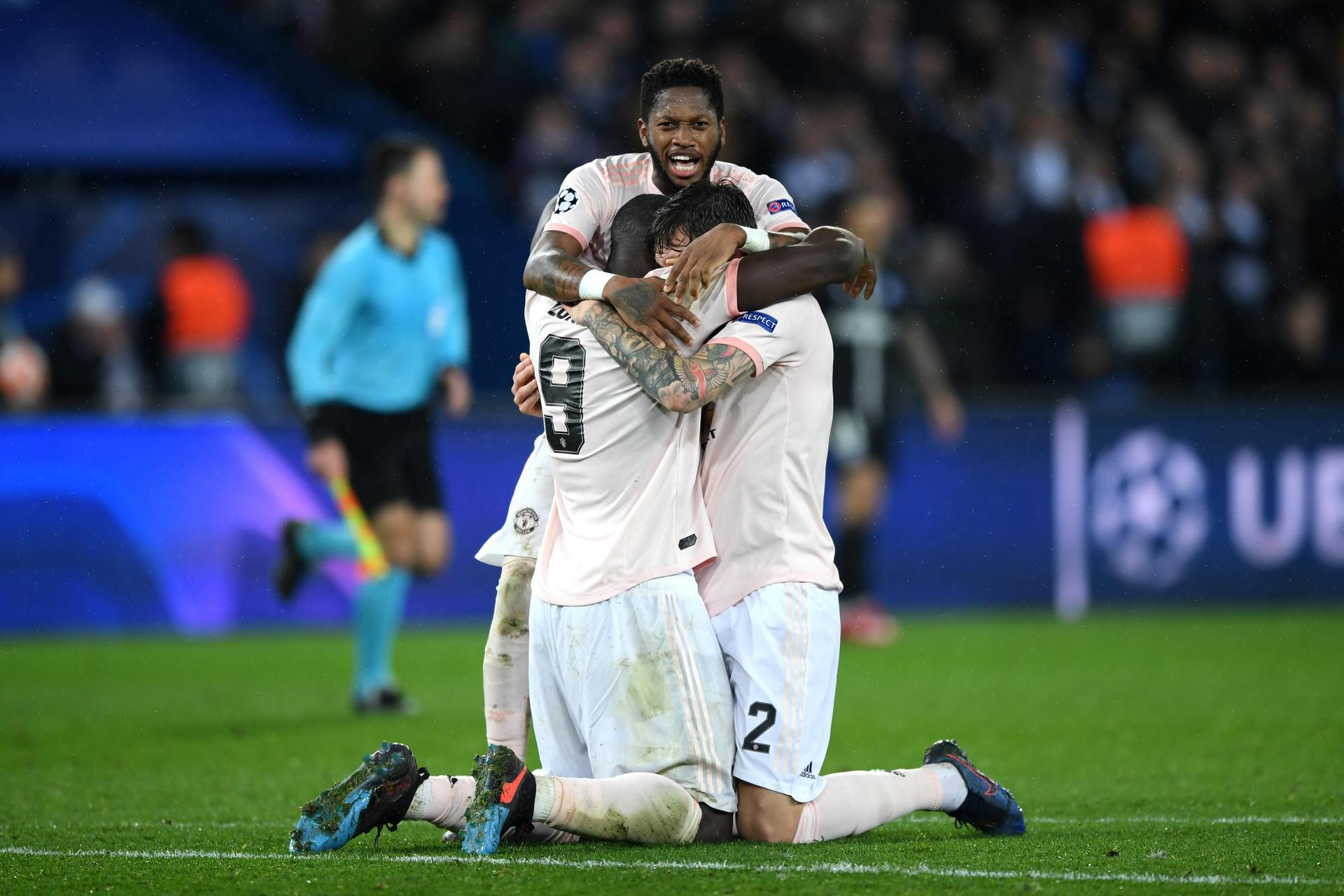 United players celebrating against PSG.