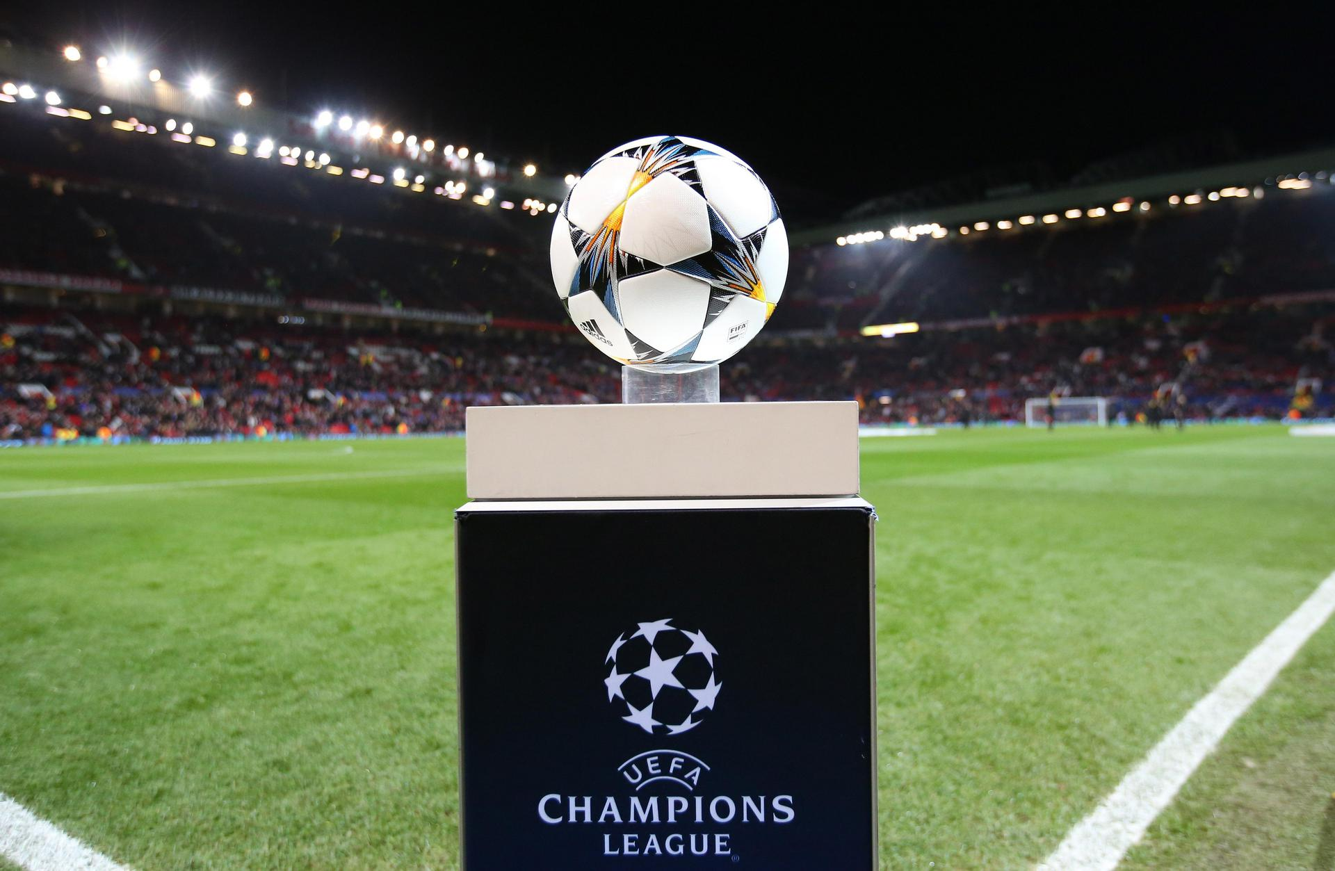 UEFA Champions League ball on the plinth at Old Trafford.