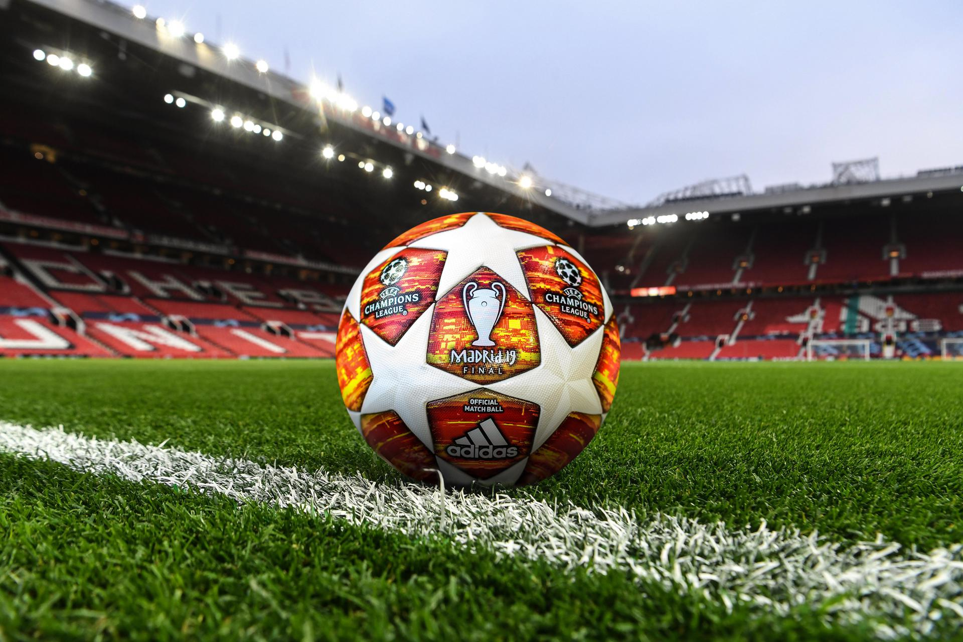 Champions League ball at Old Trafford.