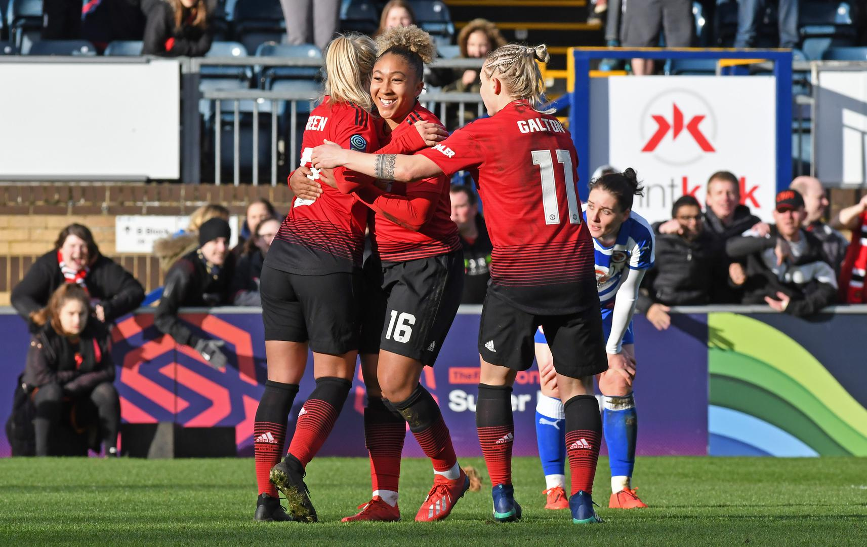 Lauren James celebrates scoring against Reading