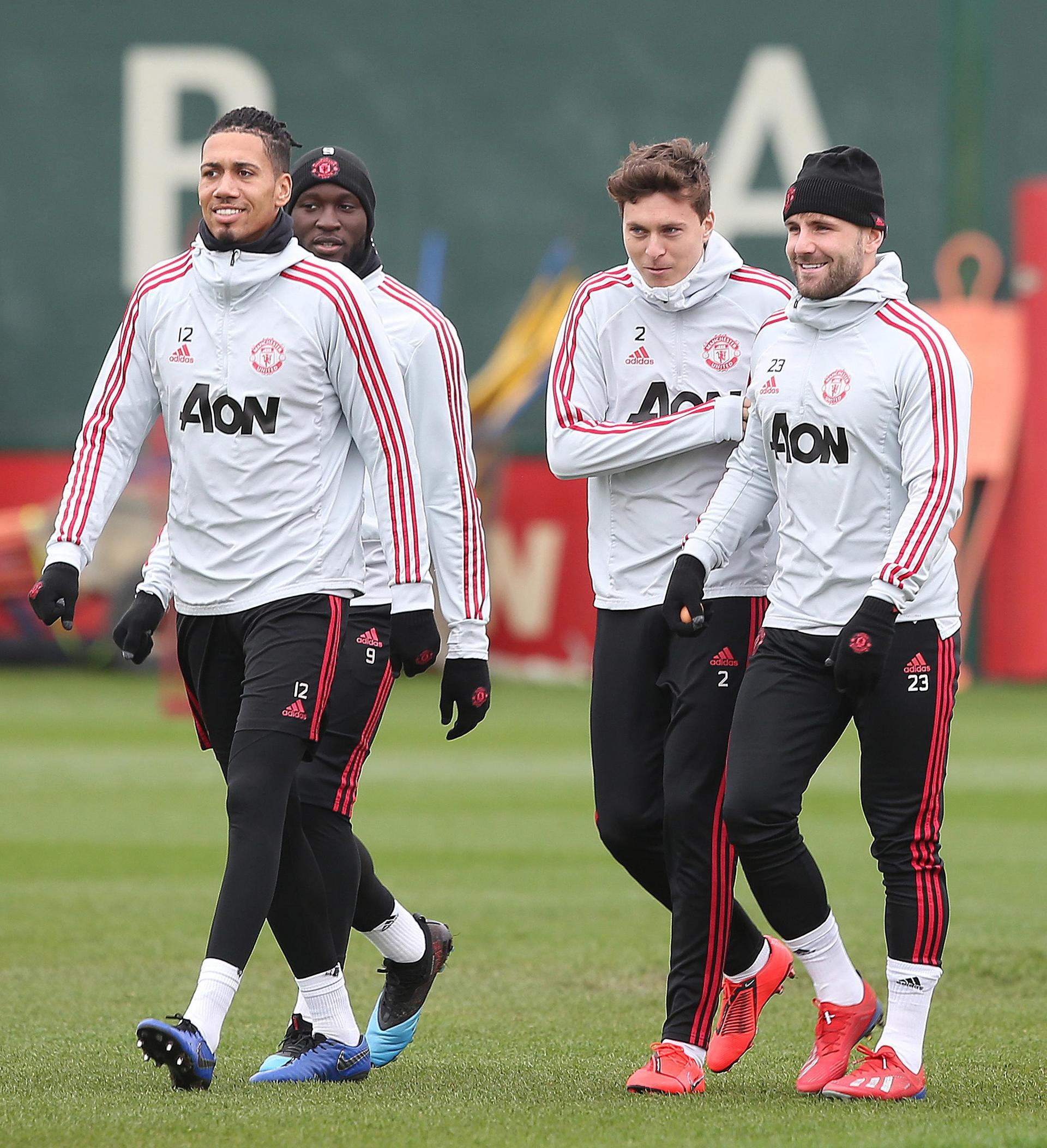 Man United players in training.