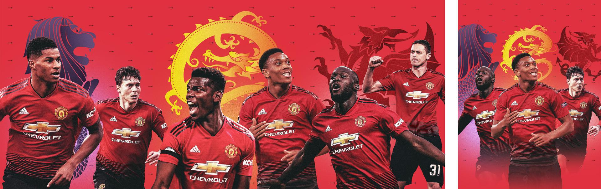 Tour 2019 promotional graphic for Manchester United matches in Cardiff, Shanghai and Singapore