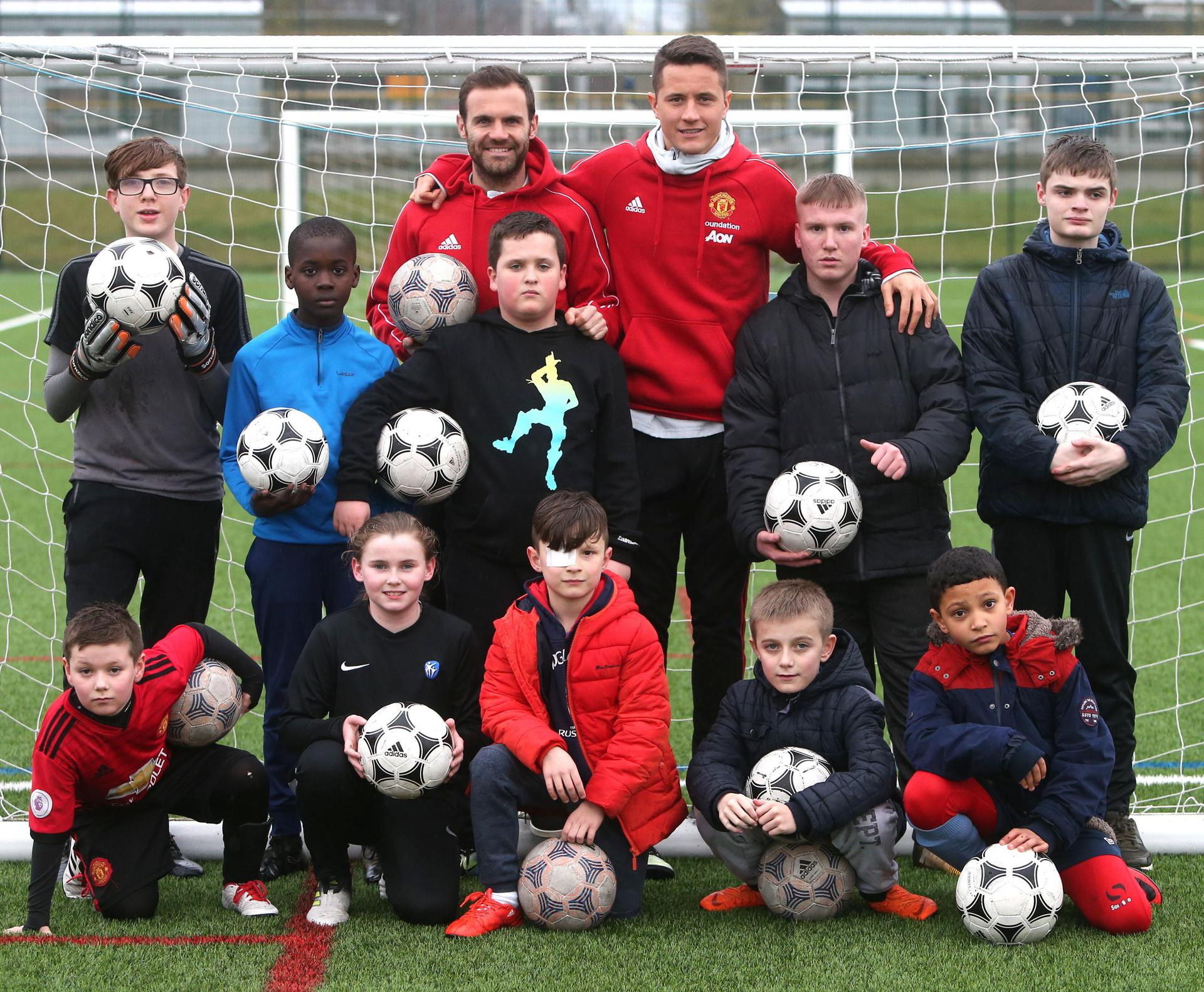 Juan Mata and Ander Herrera at the Street Reds project.