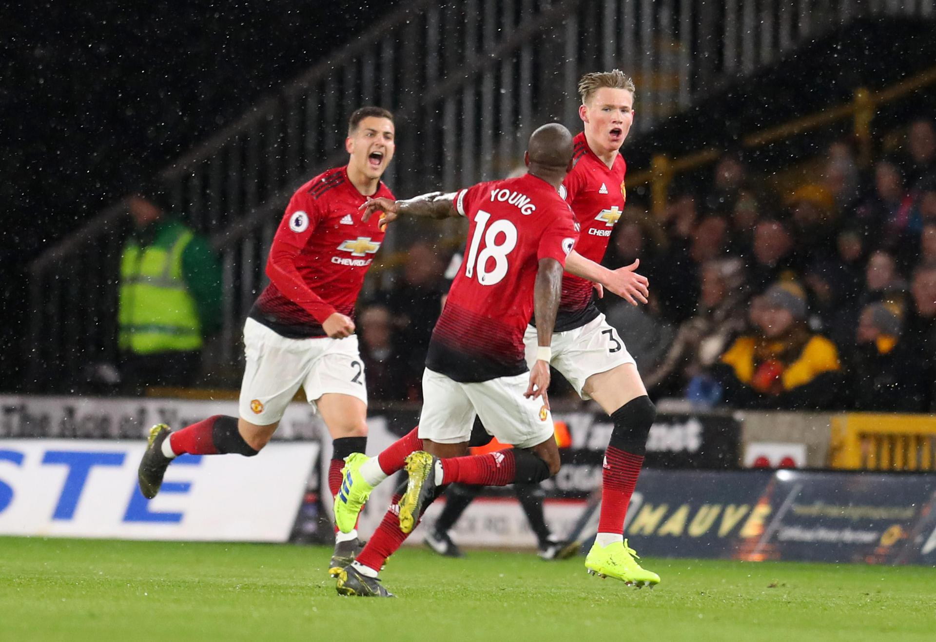 Scott McTominay celebrating his goal against Wolves.,