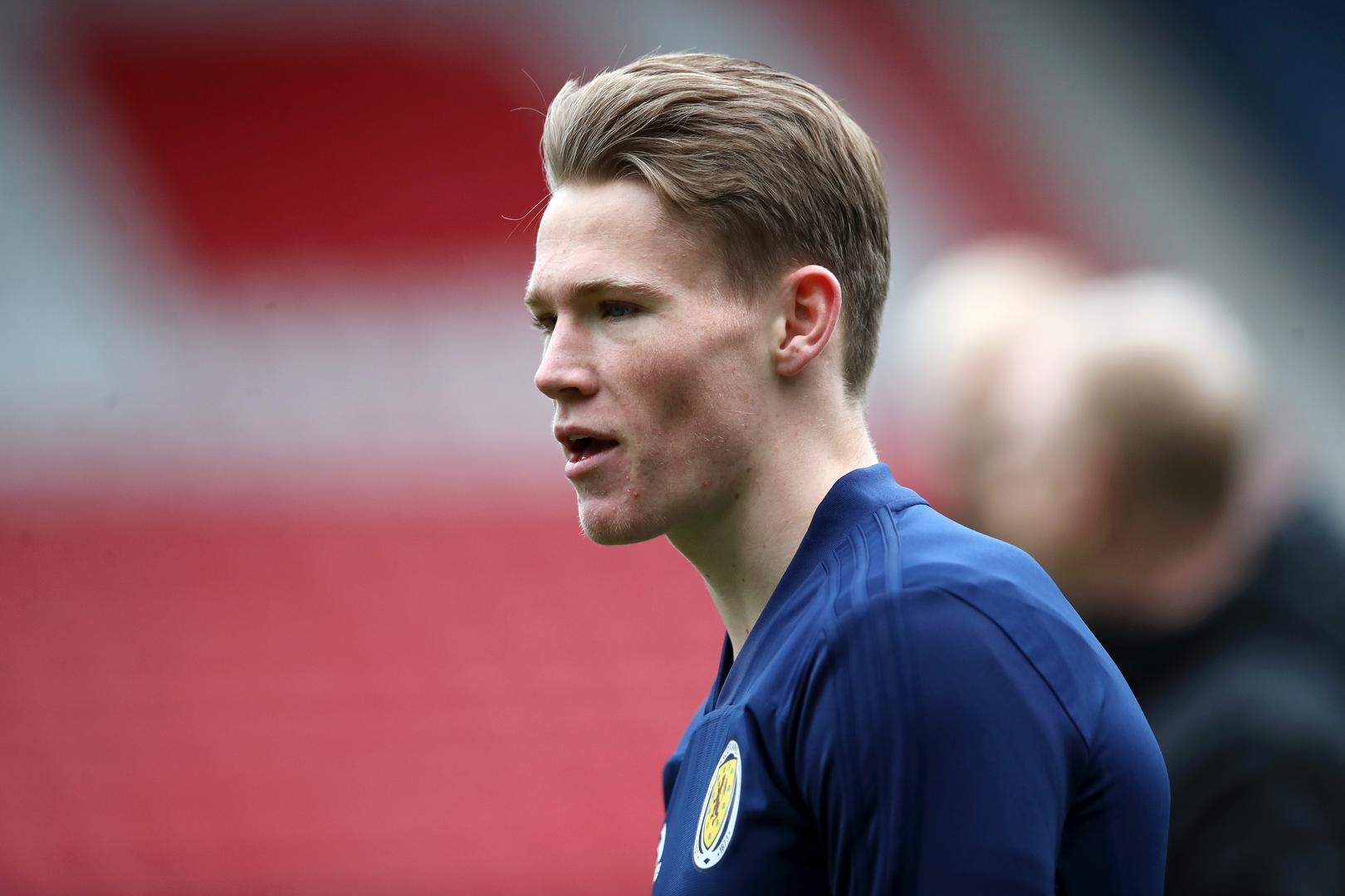 Man United midfielder Scott McTominay looks on during a Scotland training session.