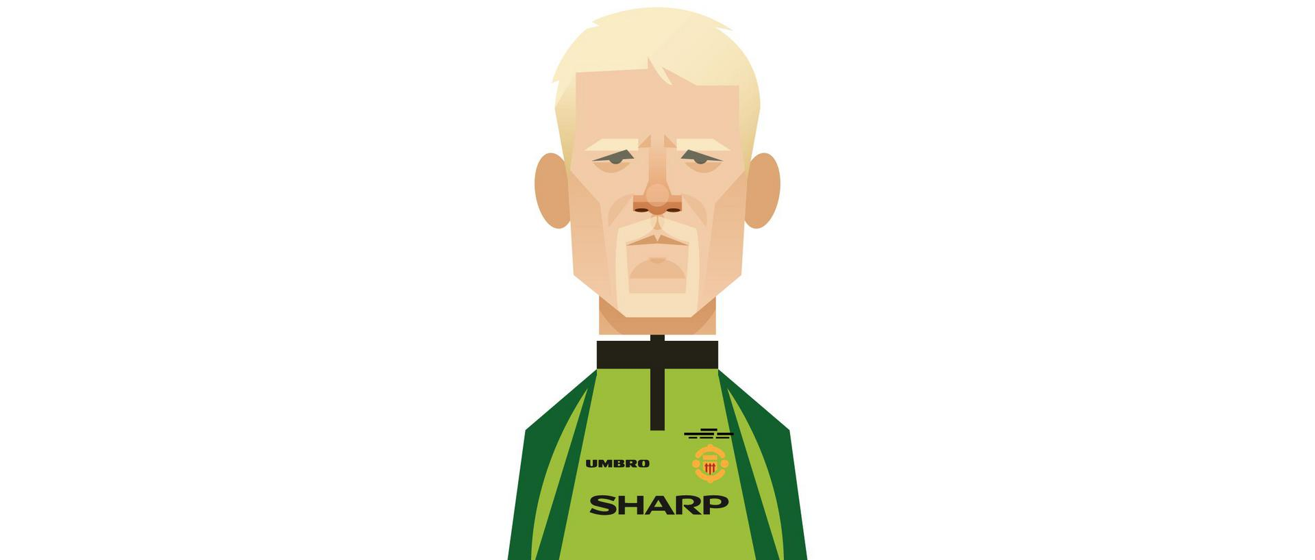 A Stanley Chow illustration of Peter Schmeichel.。