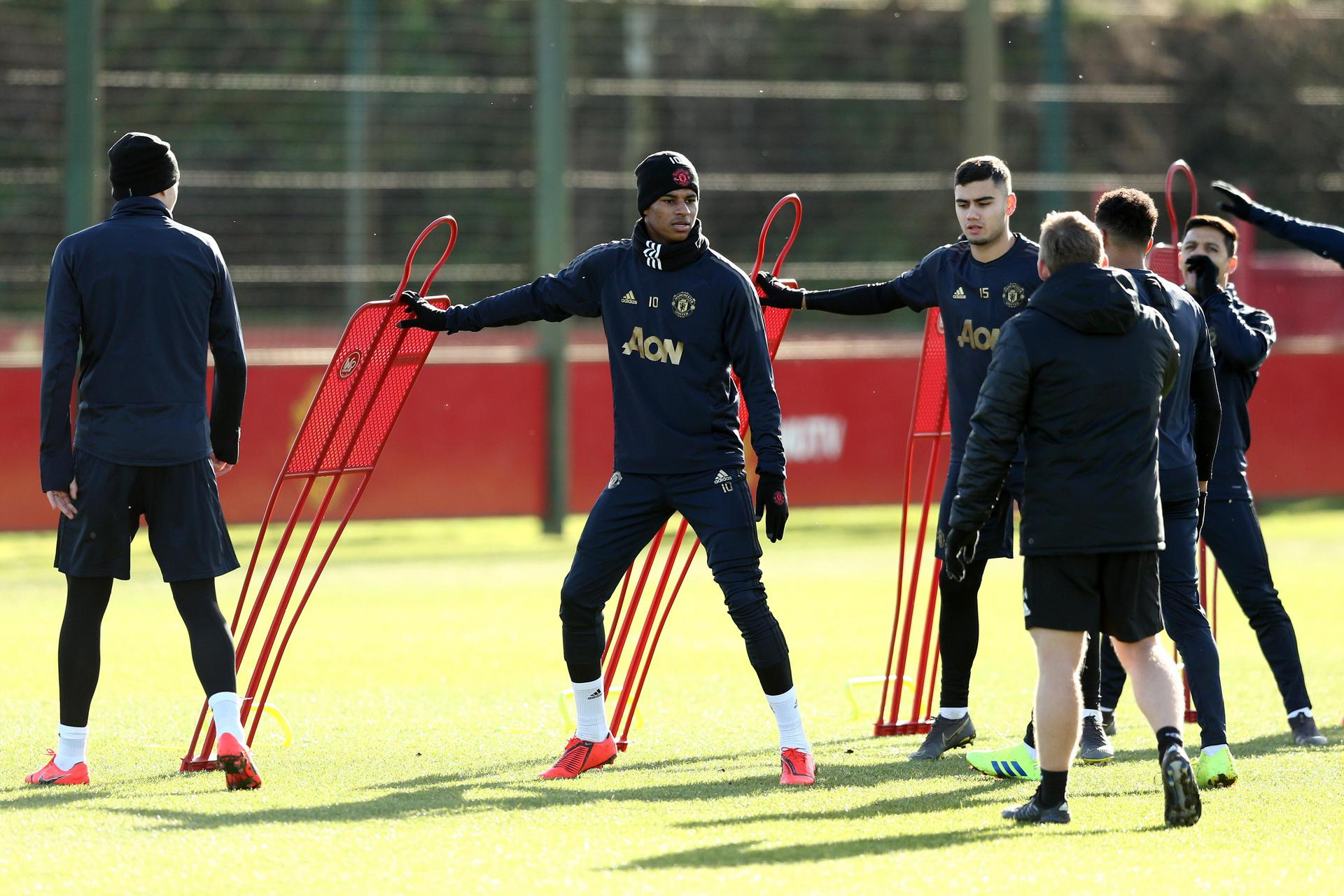 Marcus Rashford takes part in a Champions League training session。