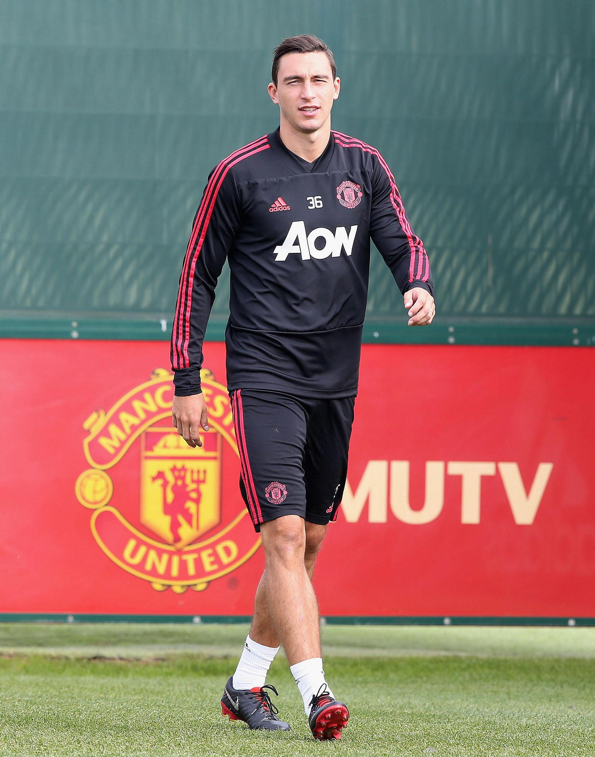 Matteo Darmian in training.
