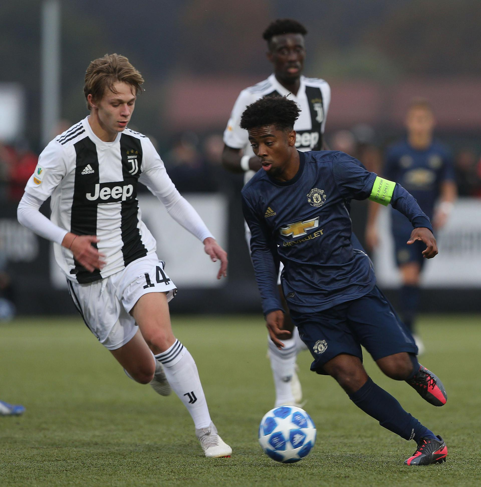 Angel Gomes in UEFA Youth League action against Juventus.