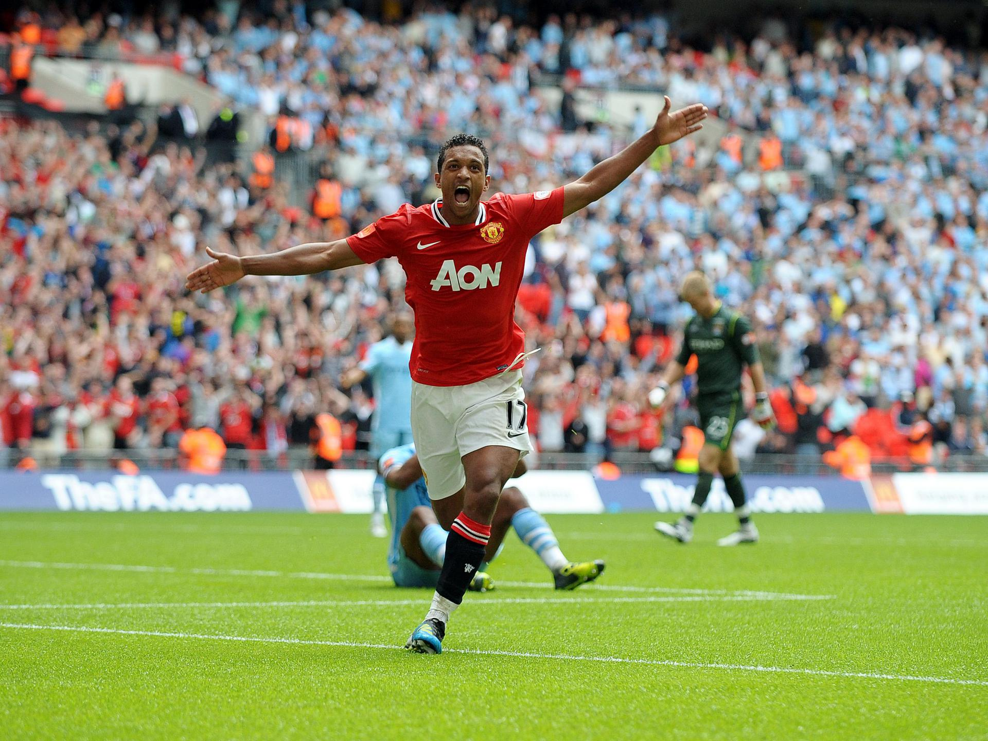 Nani in action against Manchester City.