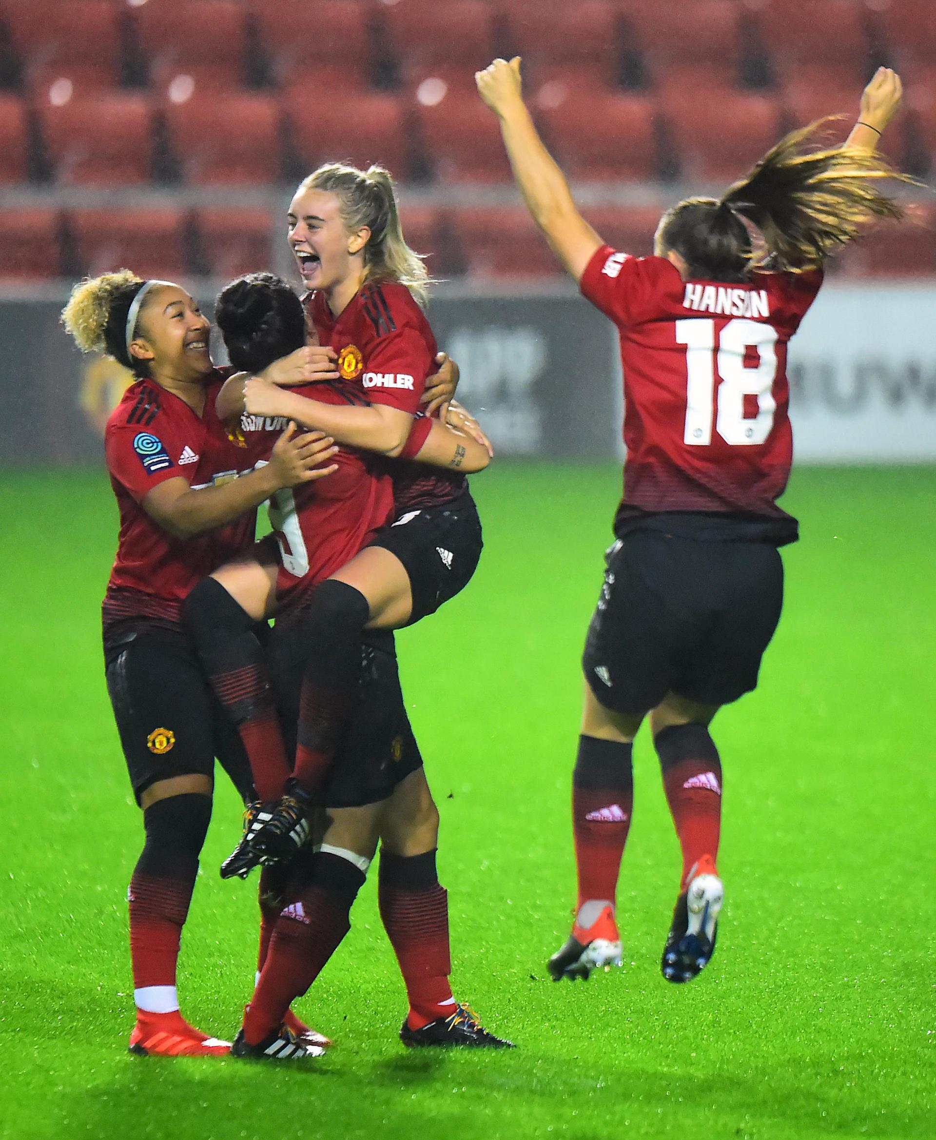 Mollie Green celebrates after scoring for Manchester United Women against Durham.