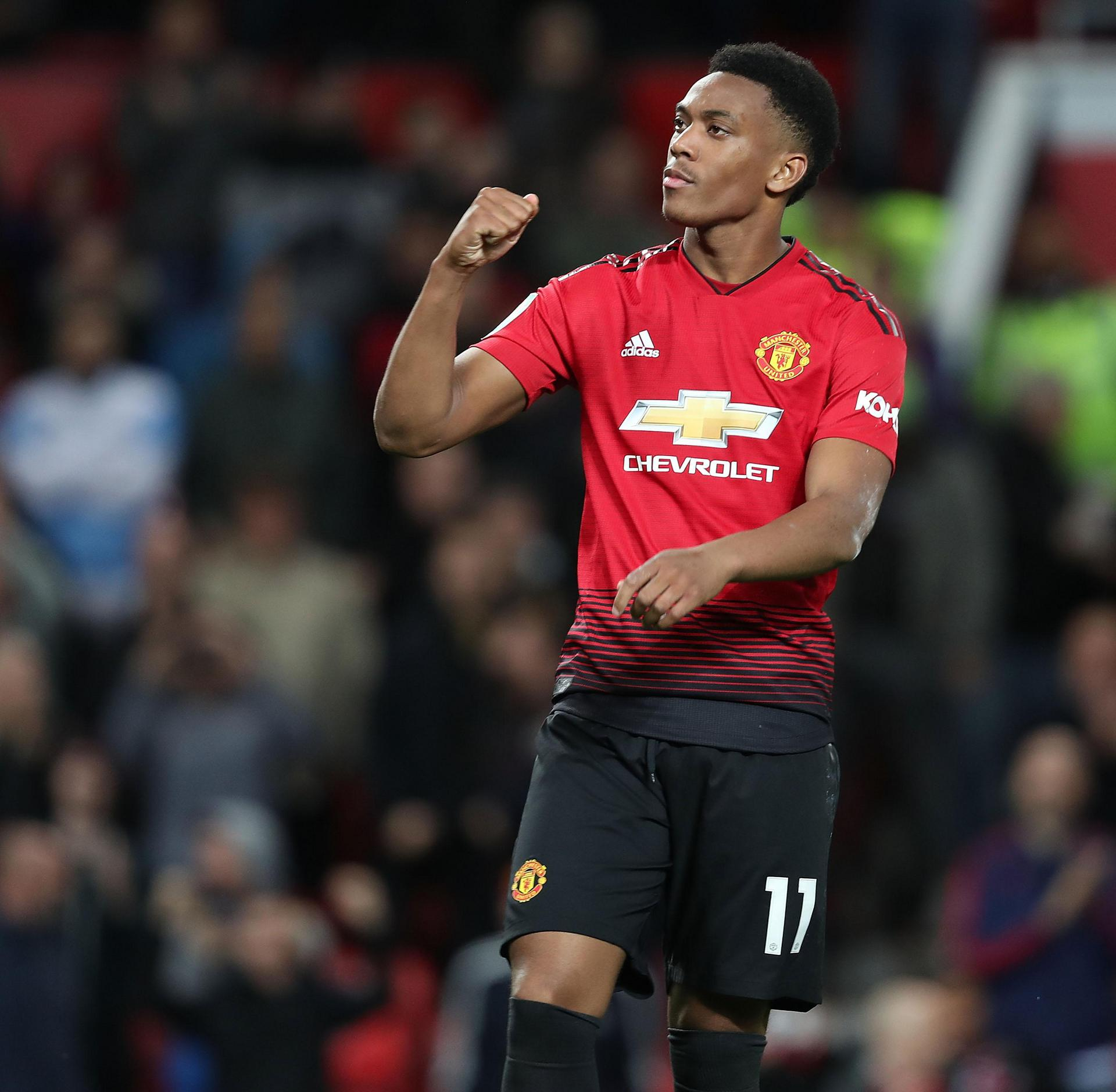 Anthony Martial celebrates a goal