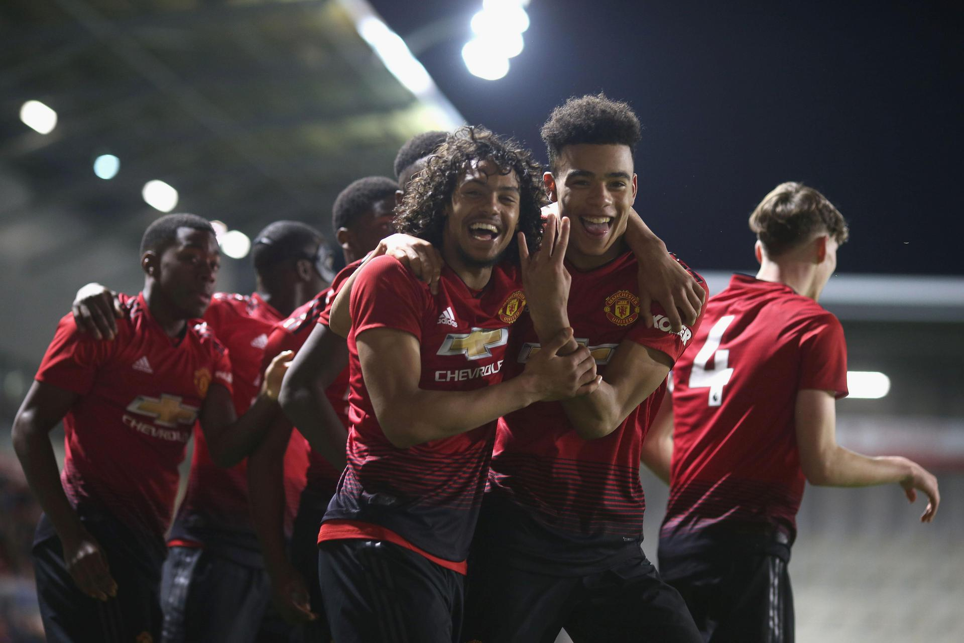 Celebrations for D'Mani Mellor and Mason Greenwood.