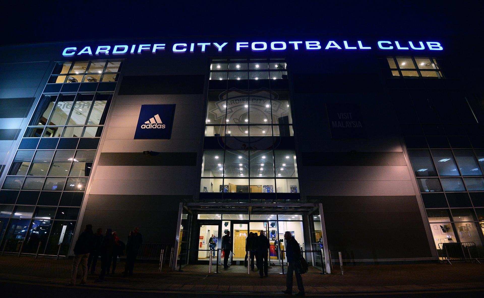 Cardiff City Stadium exterior at night