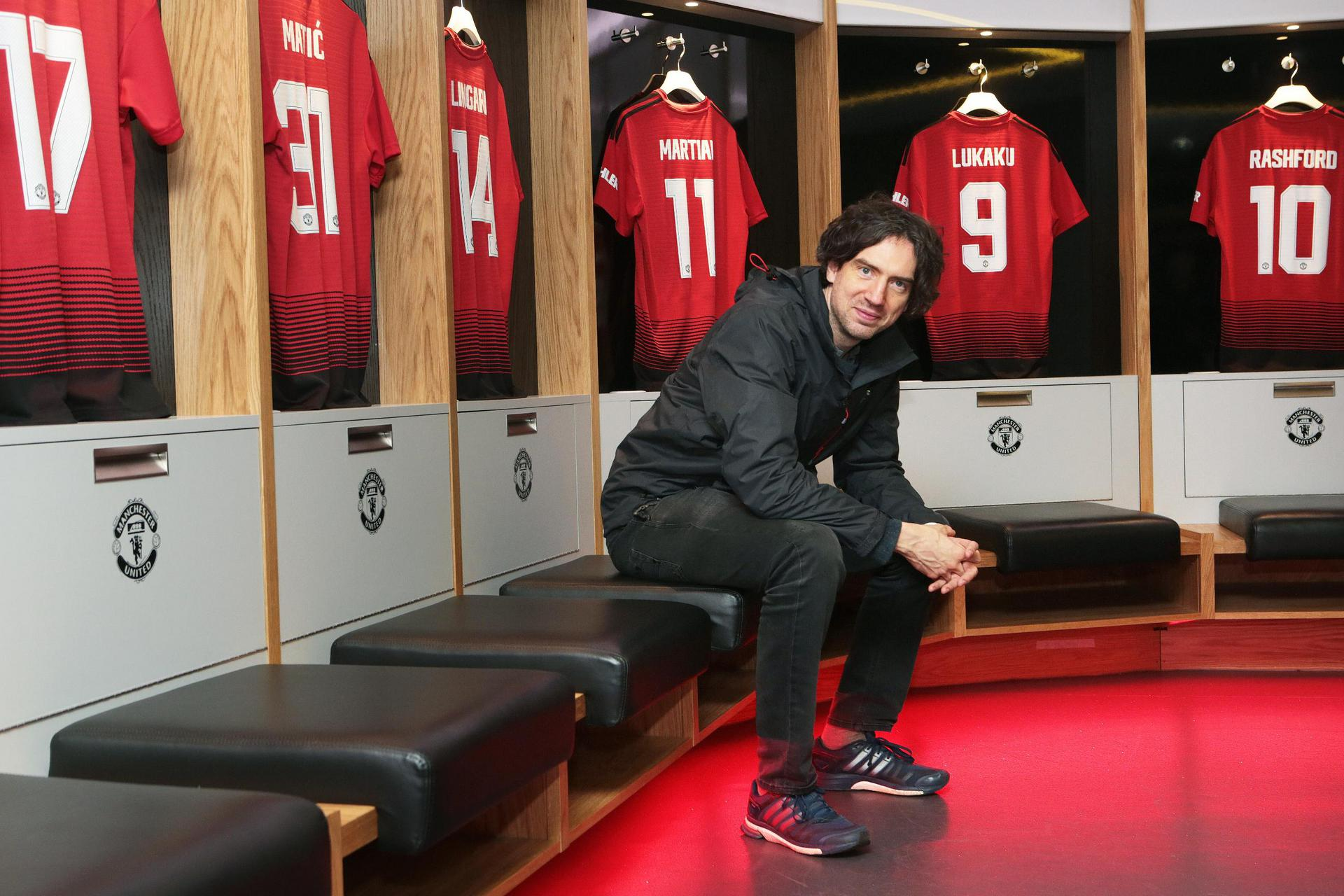 Gary Lightbody of Snow Patrol in the United dressing room at Old Trafford
