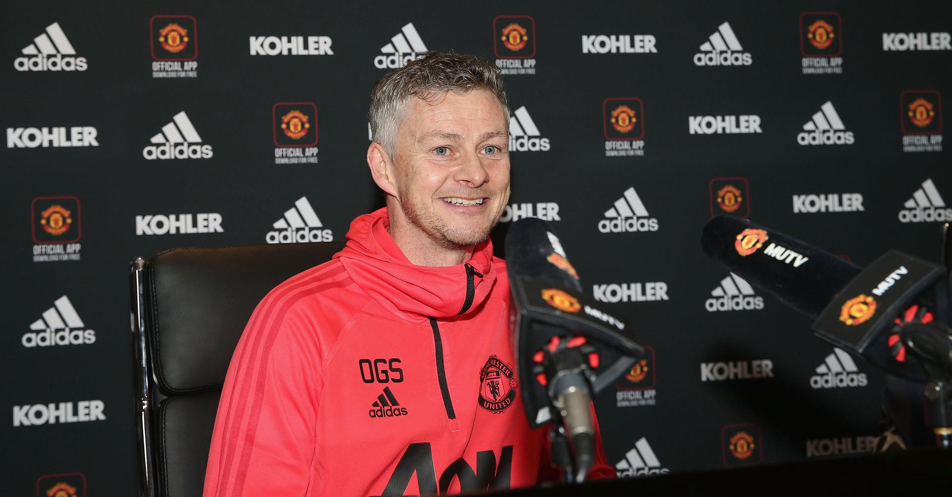 Ole Gunnar Solskjaer at a press conference