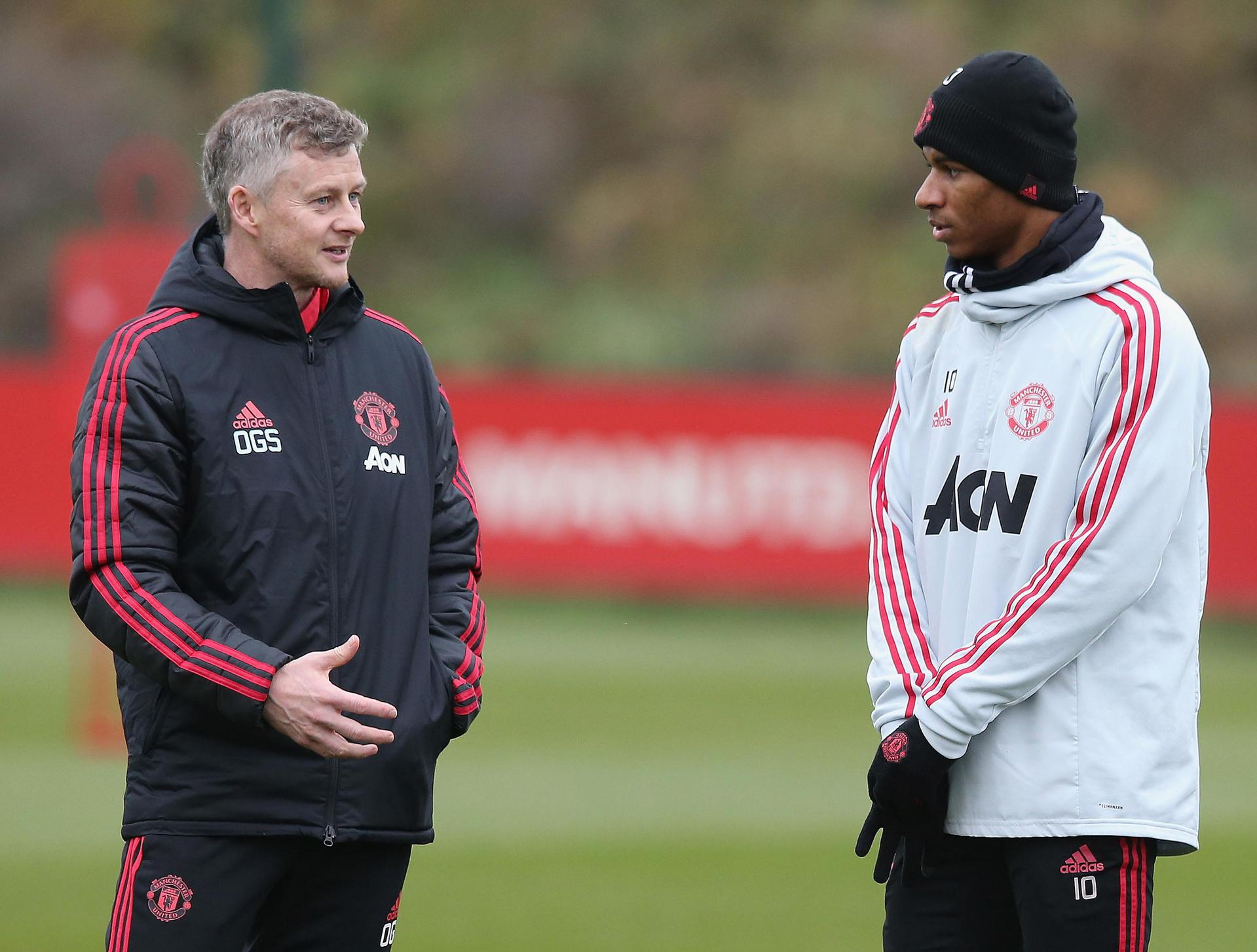Ole Gunnar Solskjaer and Marcus Rashford.