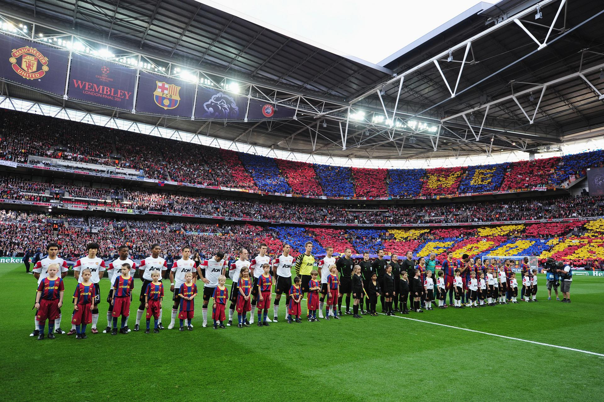 Manchester United and Barcelona line up before the 2011 UEFA Champions League final at Wembley