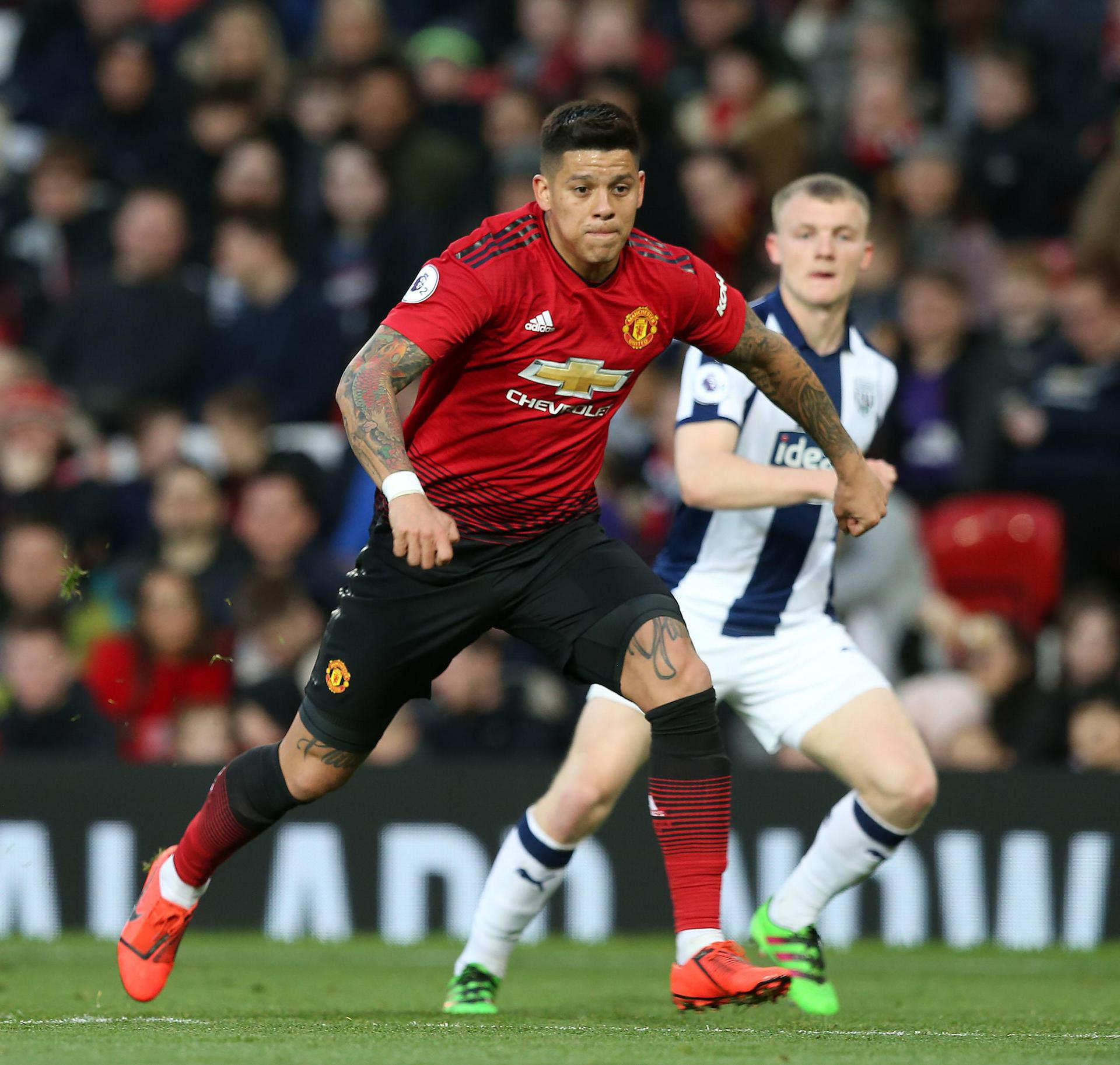 Marcos Rojo in action against West Brom Under-23s