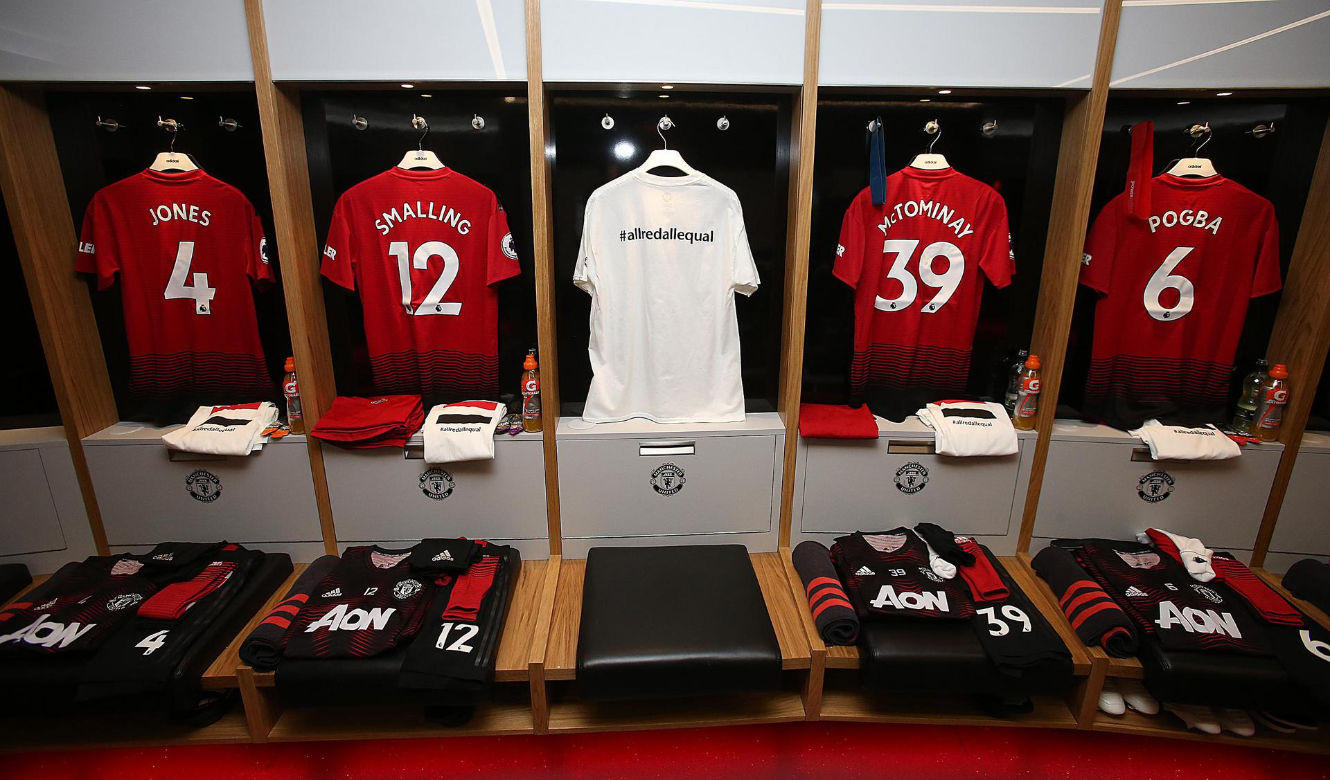 Manchester United shirts in the home dressing room at Old Trafford