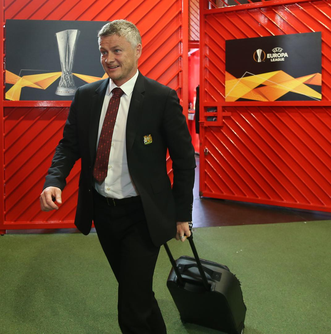 Ole Gunnar Solskjaer arrives at Old Trafford for the Europa League game against FC Astana