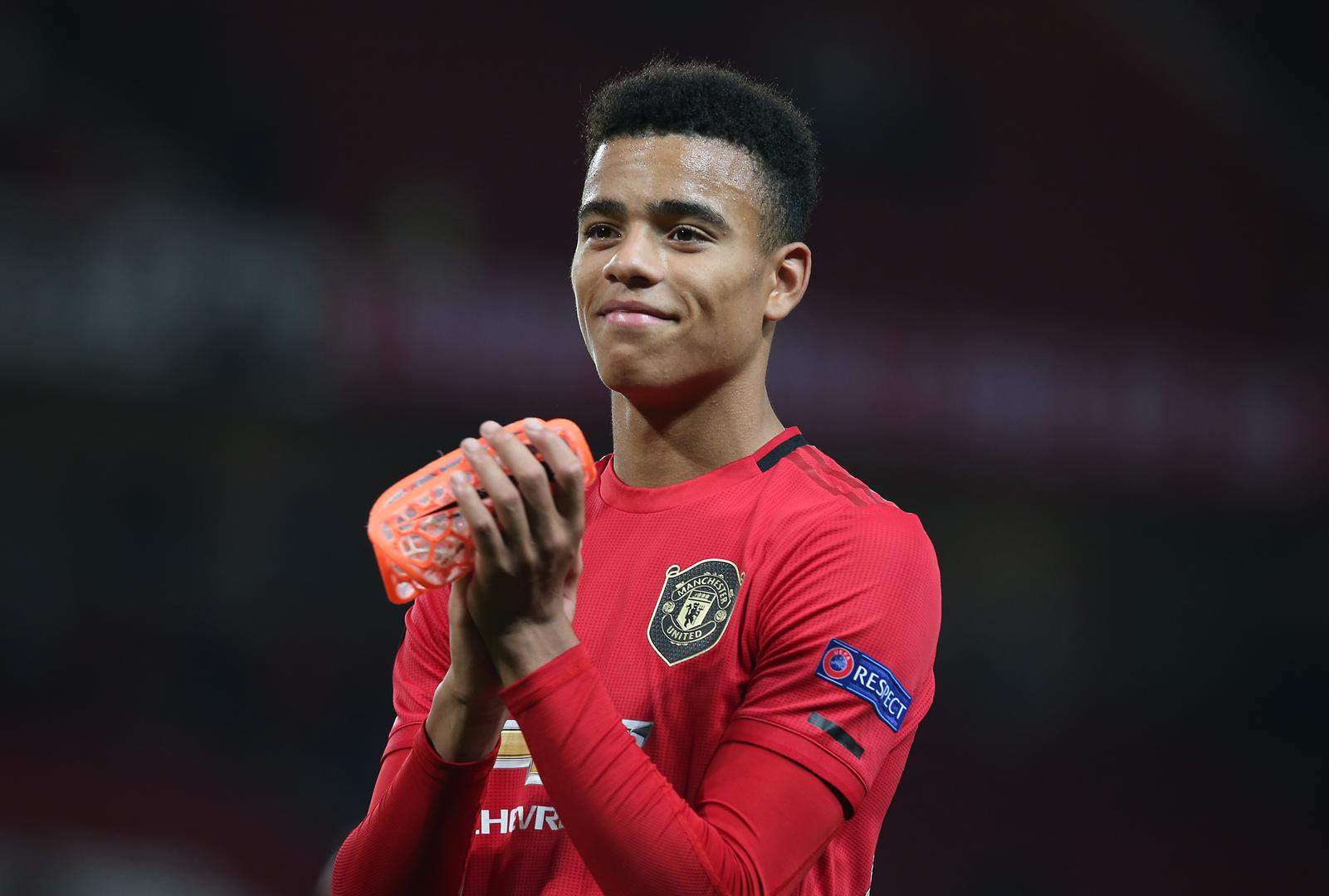 Mason Greenwood claps the fans after Manchester United beat Astana in the Europa League.