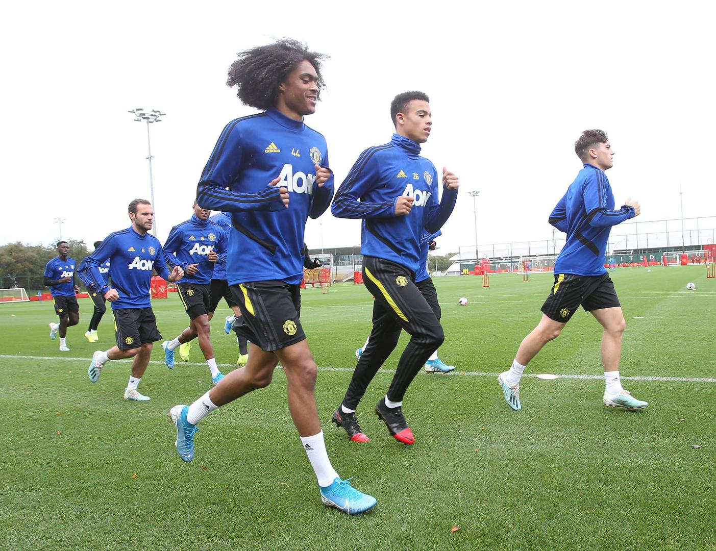 Manchester United players including Tahith Chong and Mason Greenwood train at the Aon Training Complex on Friday 26 September 2019,