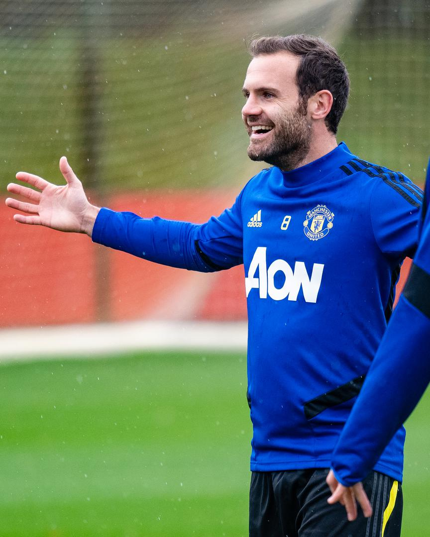 Juan Mata in training.