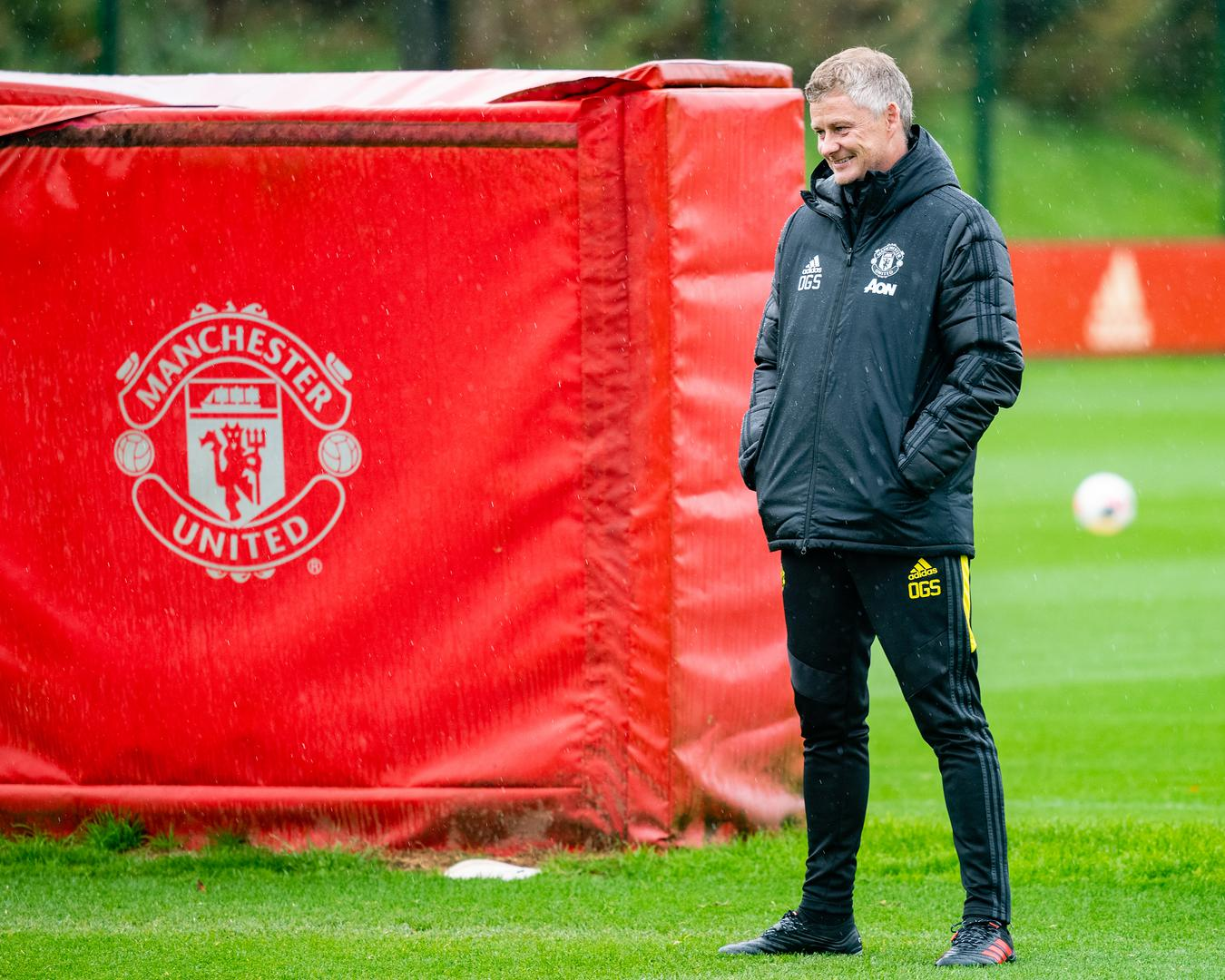 Ole Gunnar Solskjaer at the Aon Training Complex.
