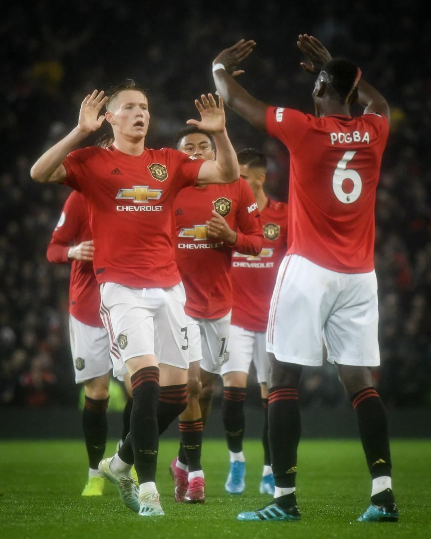 Paul Pogba salutes goalscorer Scott McTominay against Arsenal