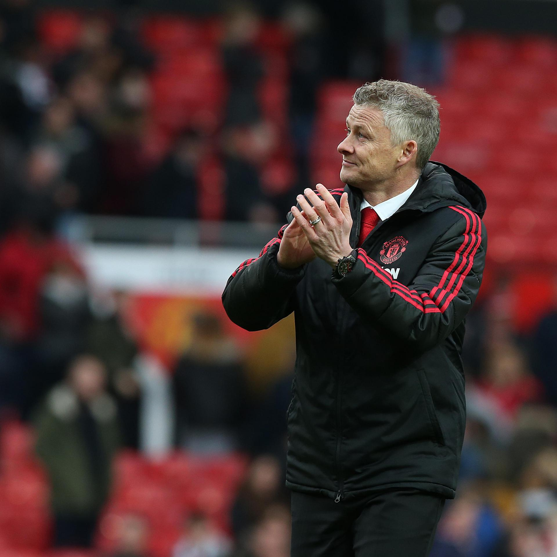 Ole Gunnar Solskjaer applauds the fans at full-time in the West Ham game