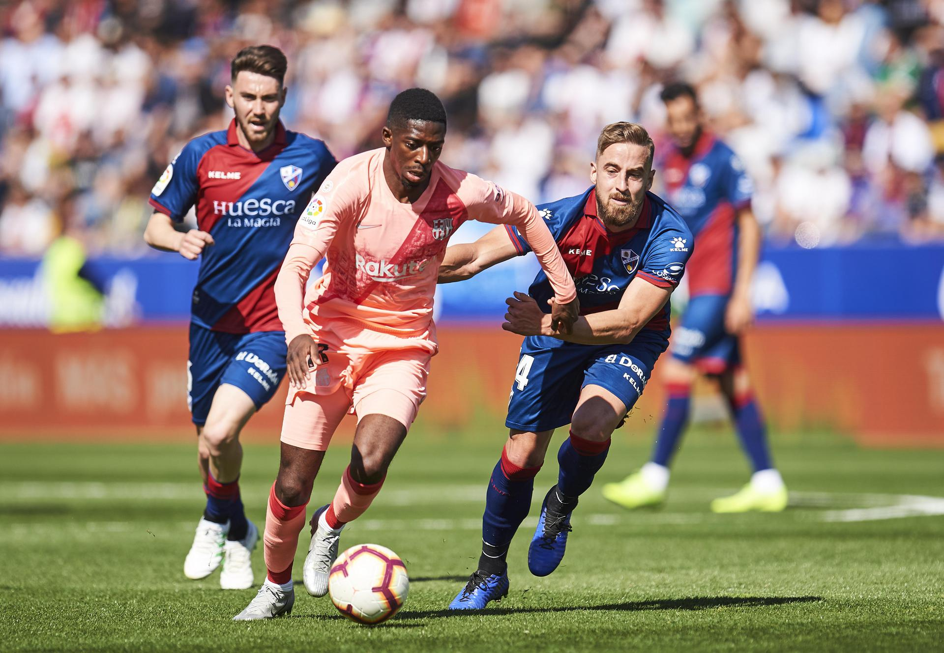 Ousmane Dembele in action for Barcelona away to Huesca