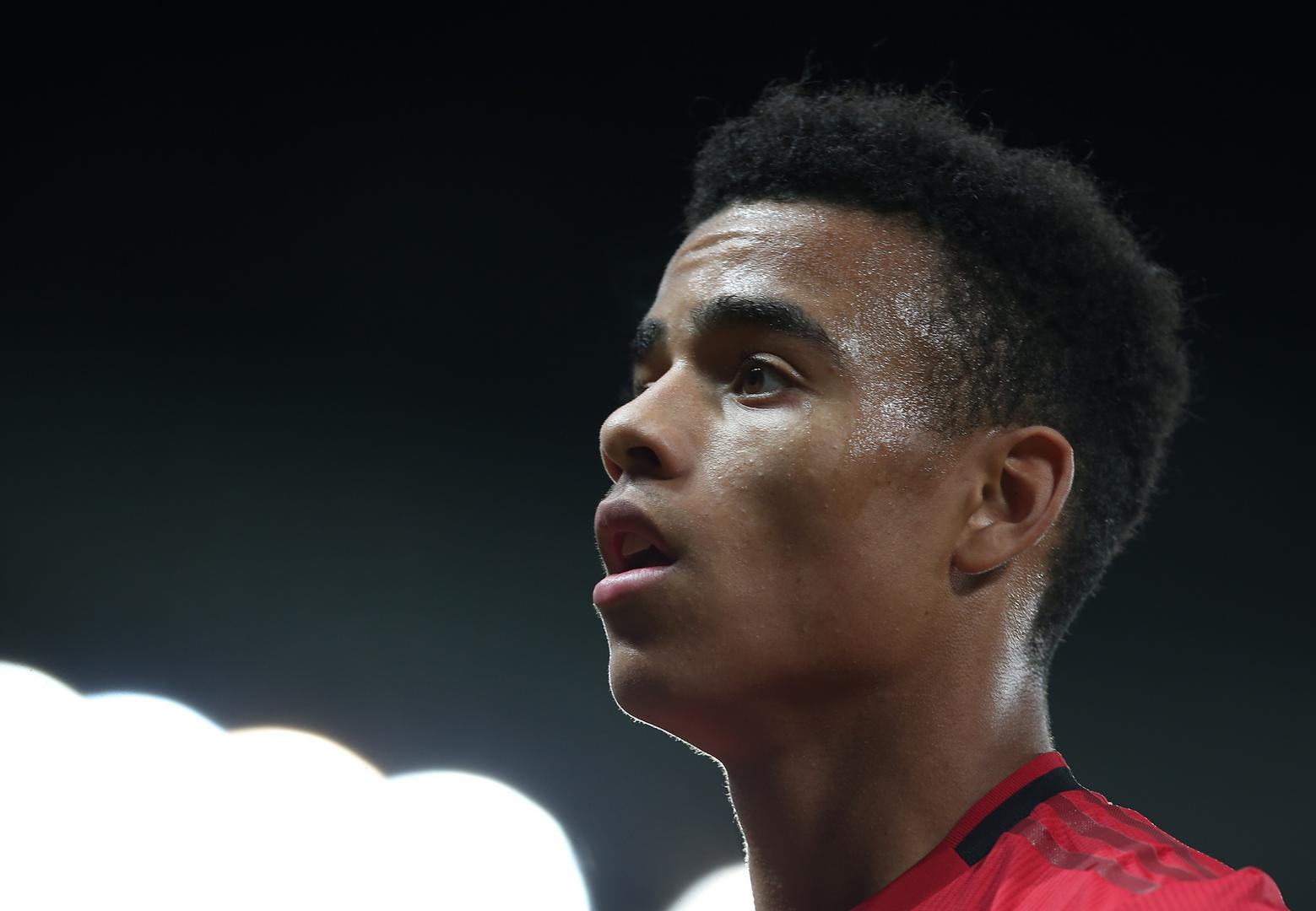 Mason Greenwood looks on during the Carabao Cup tie with Rochdale.