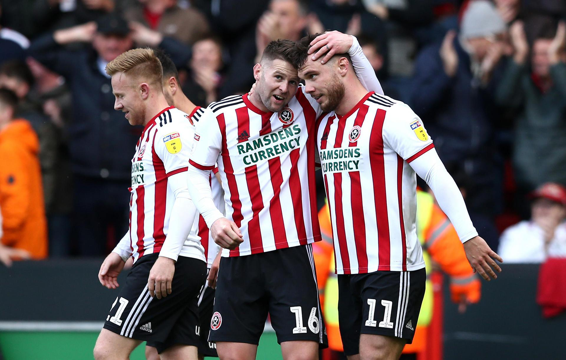 Sheffield United celebrate scoring a goal.