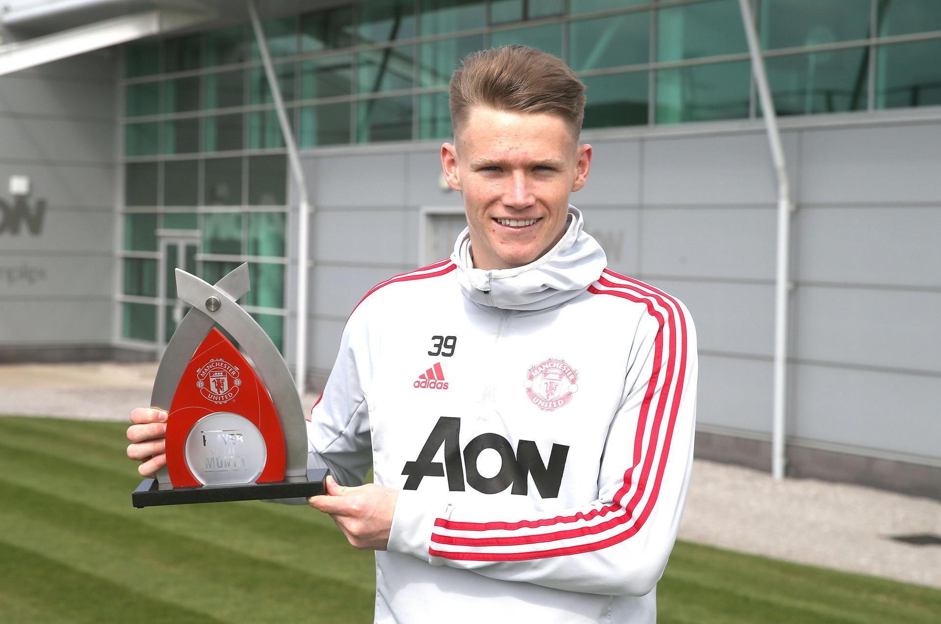 Scott McTominay with his Player of the Month award