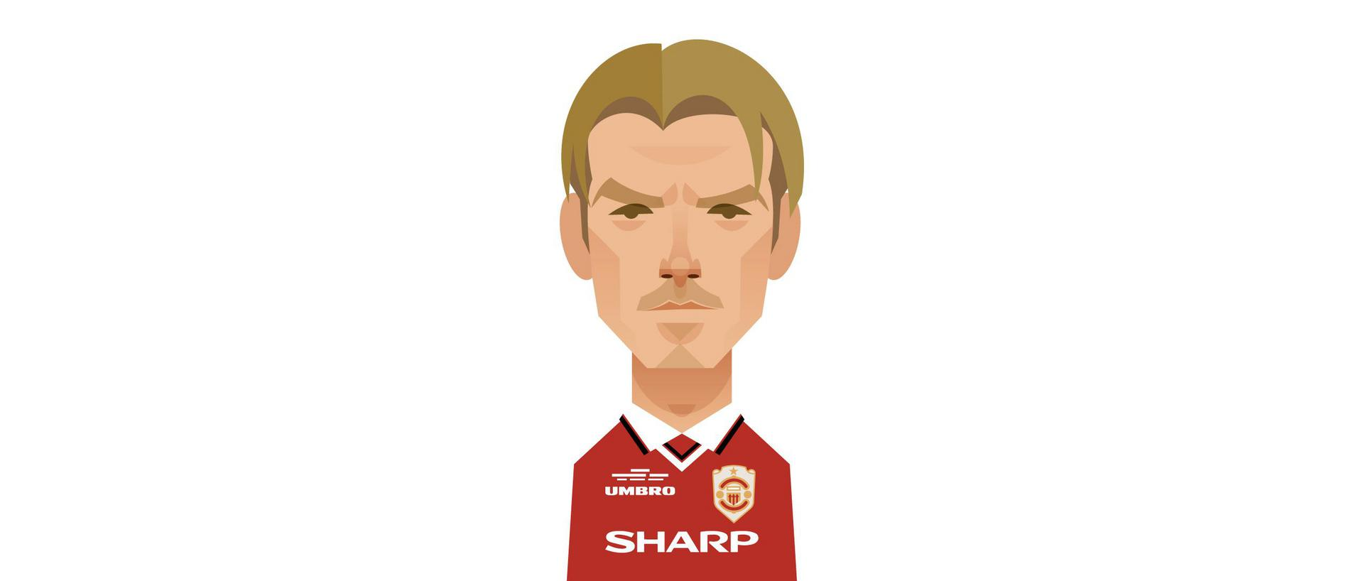 A Stanley Chow illustration of David Beckham.,