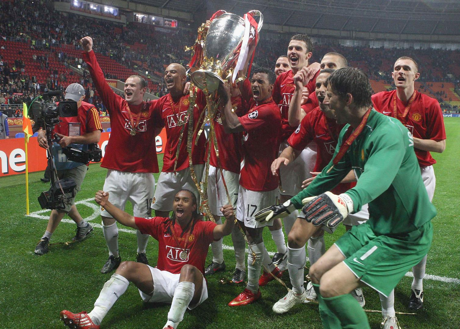 Manchester United celebrate 2008 Champions League success.