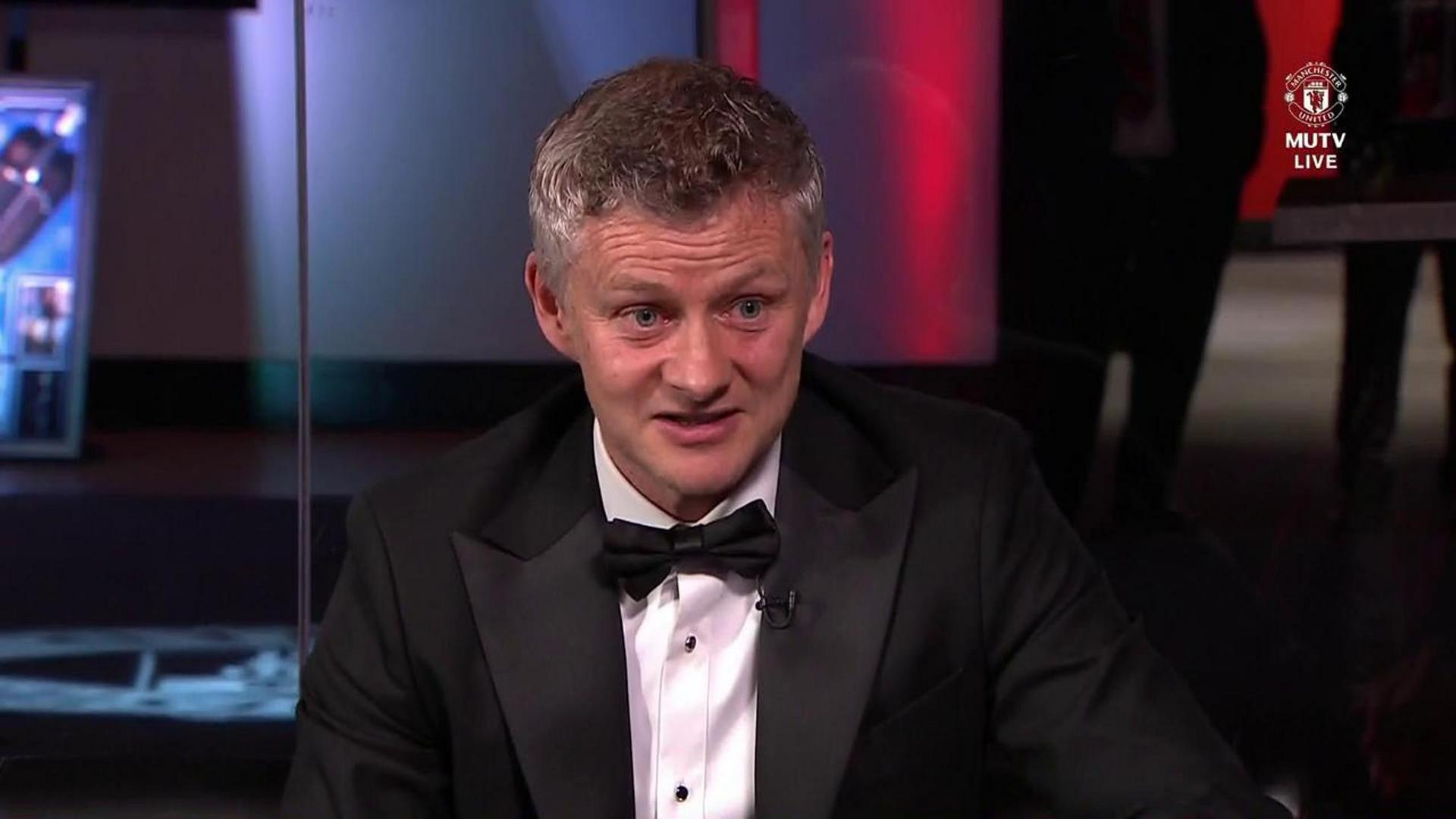 Ole Gunnar Solskjaer being interviewed at the Player of the Year awards night